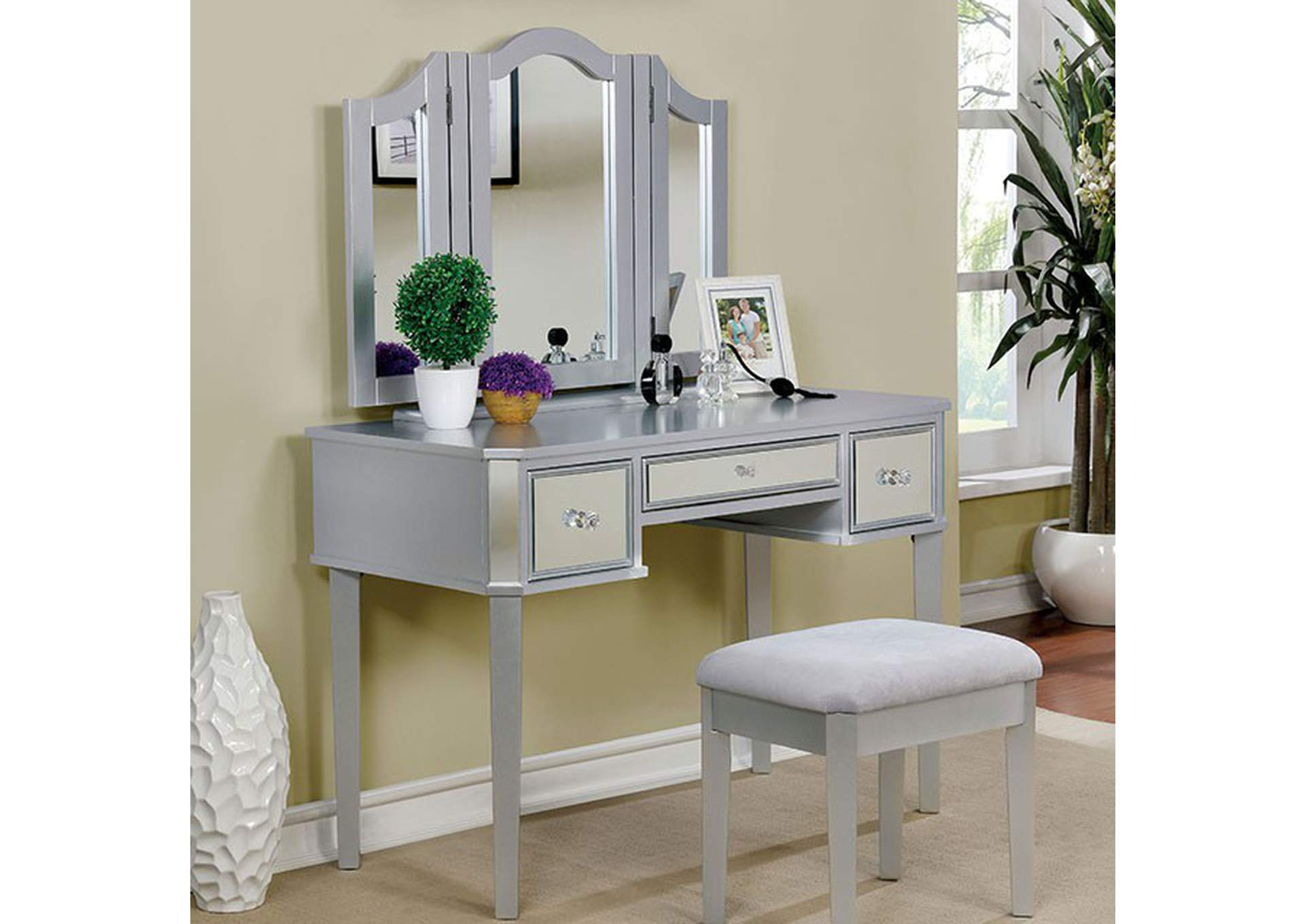 Clarisse Silver Vanity w/Stool,Furniture of America