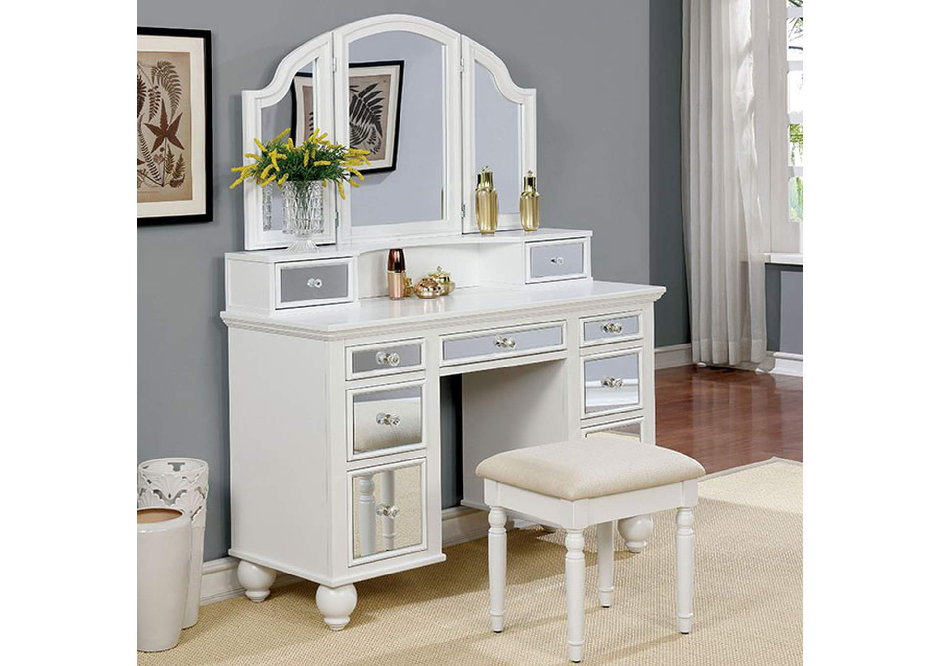 Furniture Ville Bronx Ny Tracy White Vanity W Stool