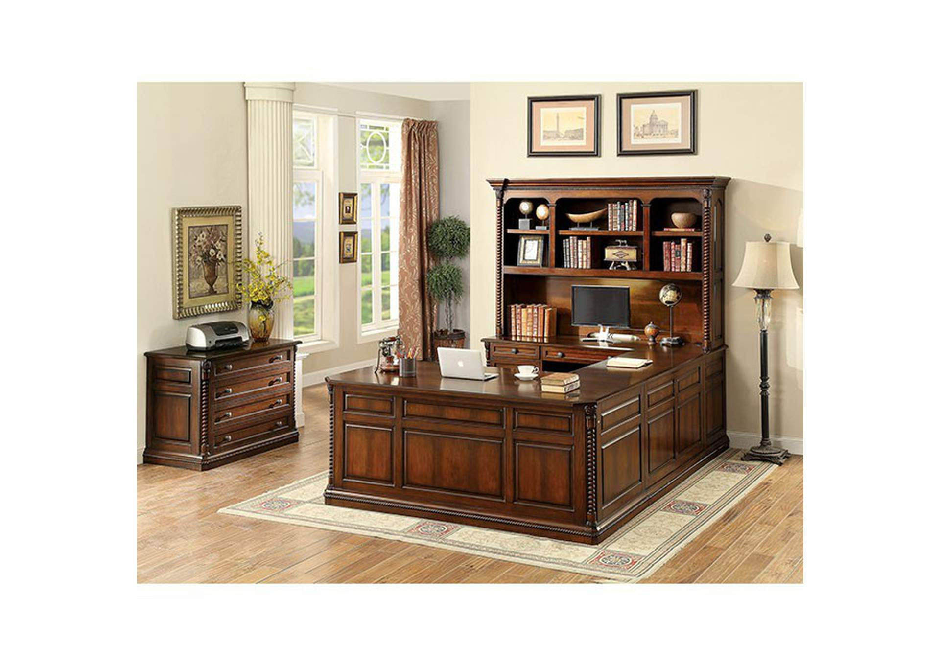 Lavinia Dark Oak Credenza Desk,Furniture of America
