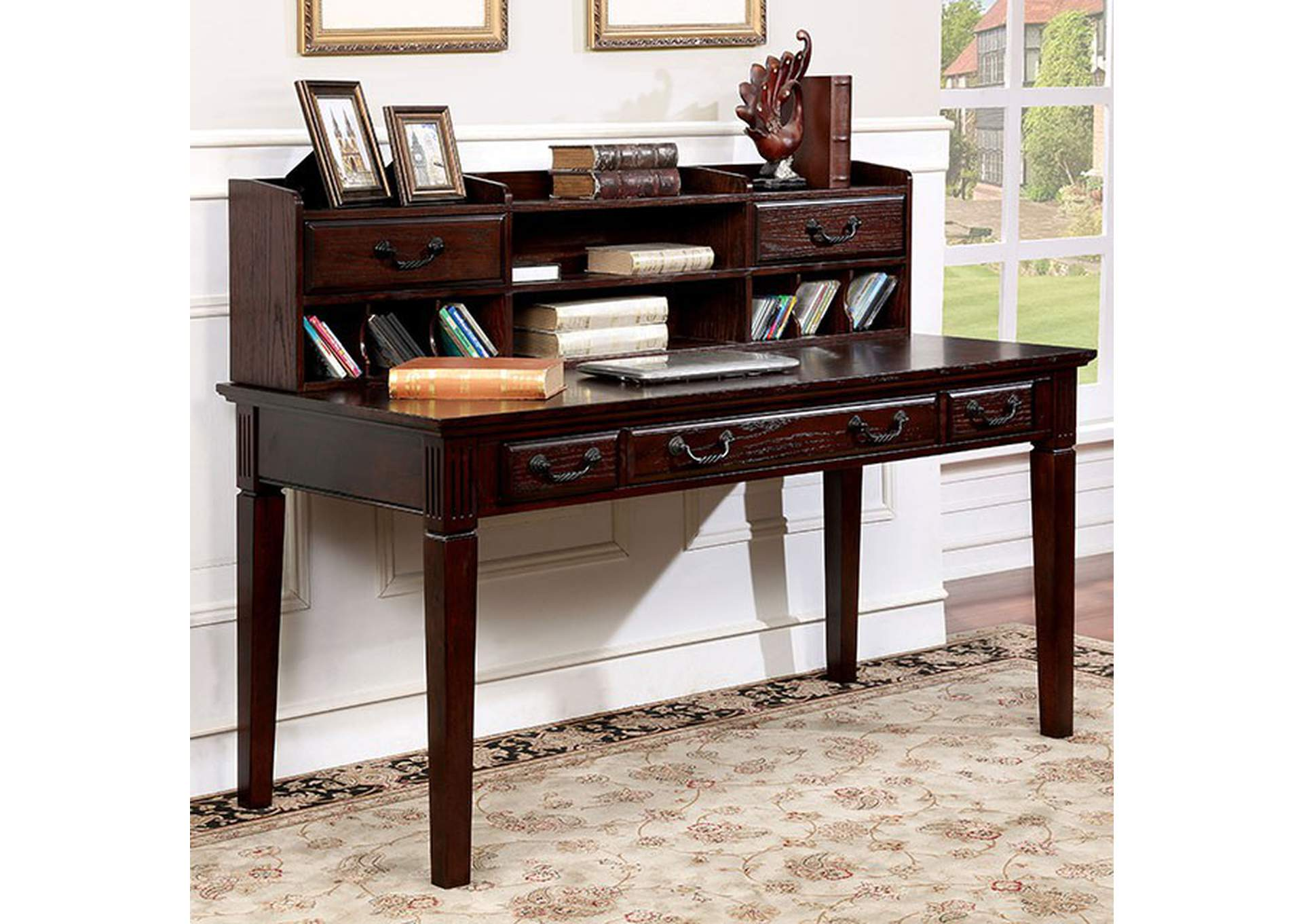 Tami Dark Walnut Writing Desk w/Hutch,Furniture of America
