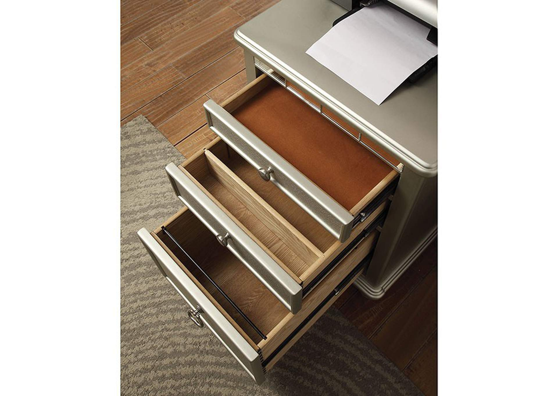 Anne Silver File Cabinet w/Power & USB,Furniture of America