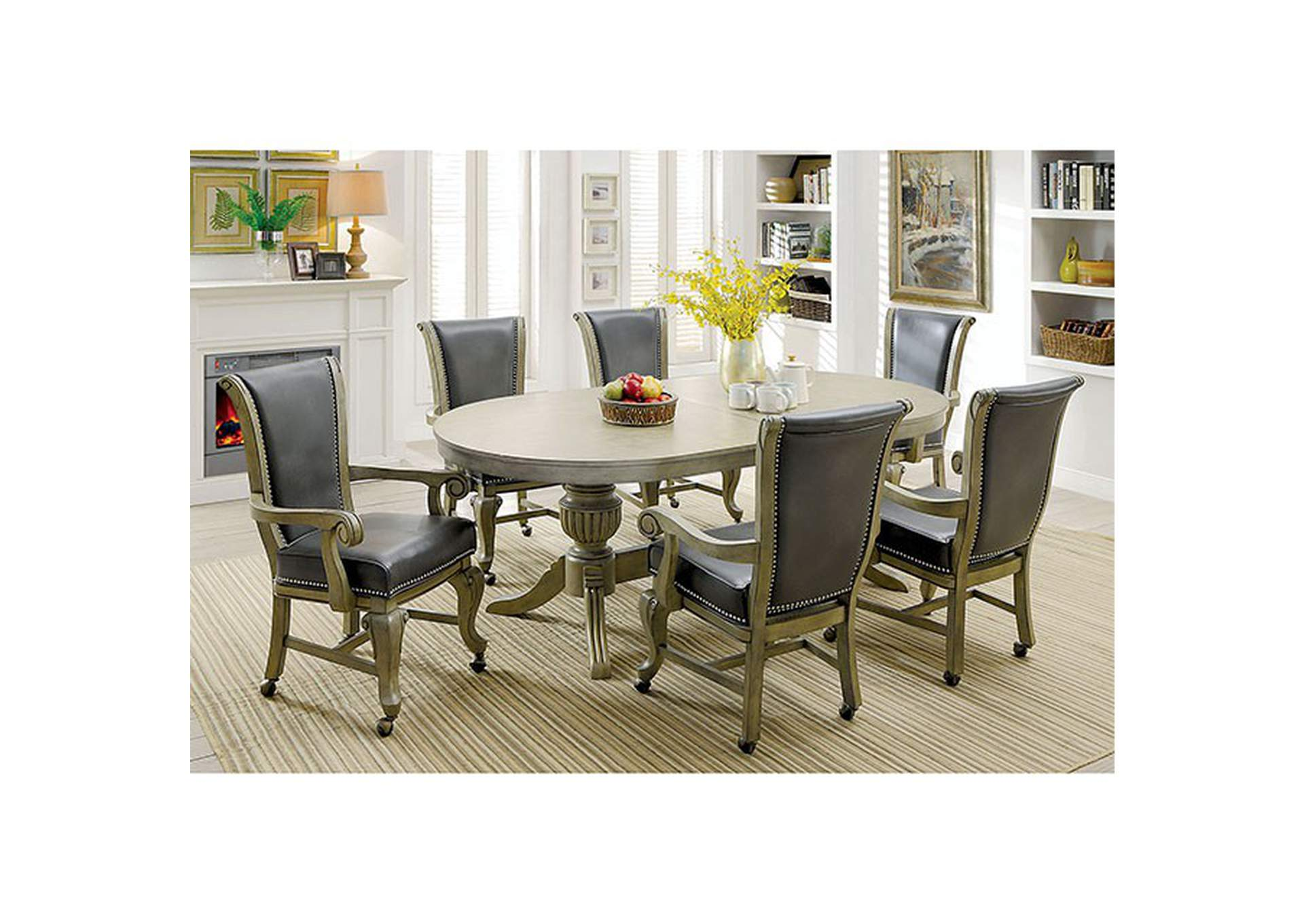 Melina Gray Game Table w/6 Arm Chairs,Furniture of America
