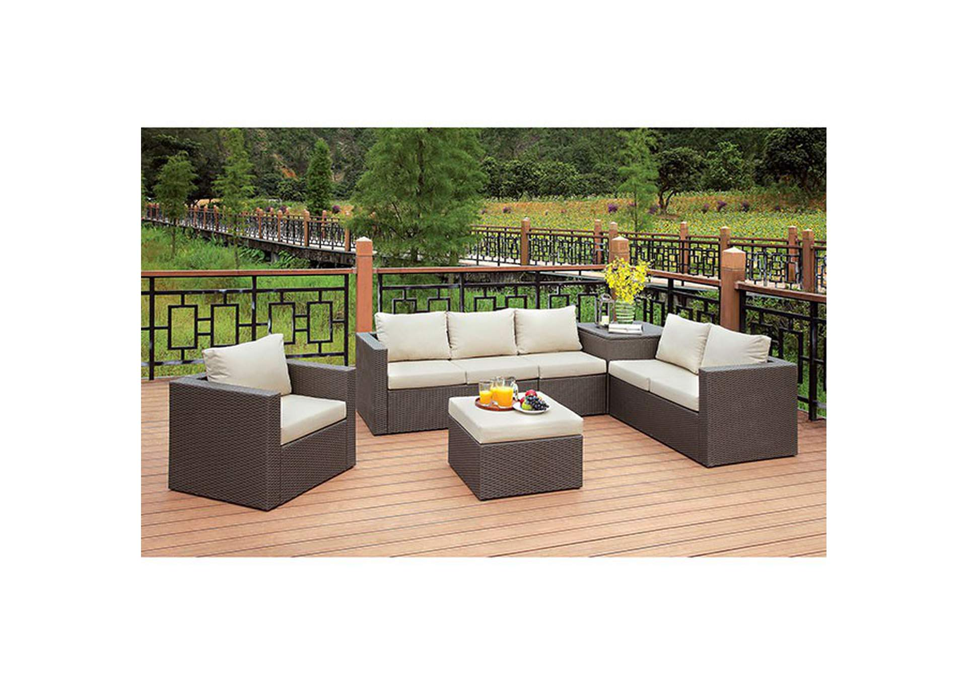 Davina Brown/Beige Patio Sectional w/Ottoman,Furniture of America