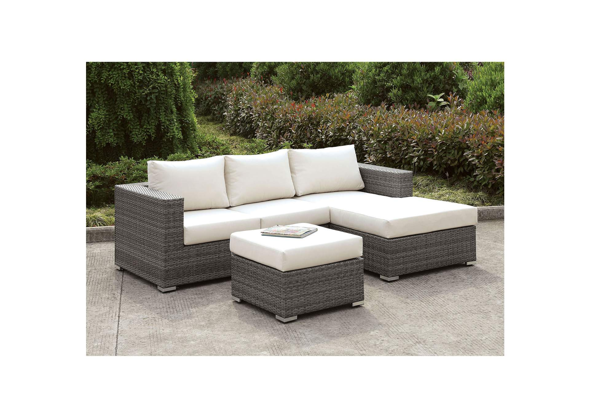 Somani Light Gray/Ivory Wicker Small L-Sectional w/Right Chaise & Ottoman,Furniture of America