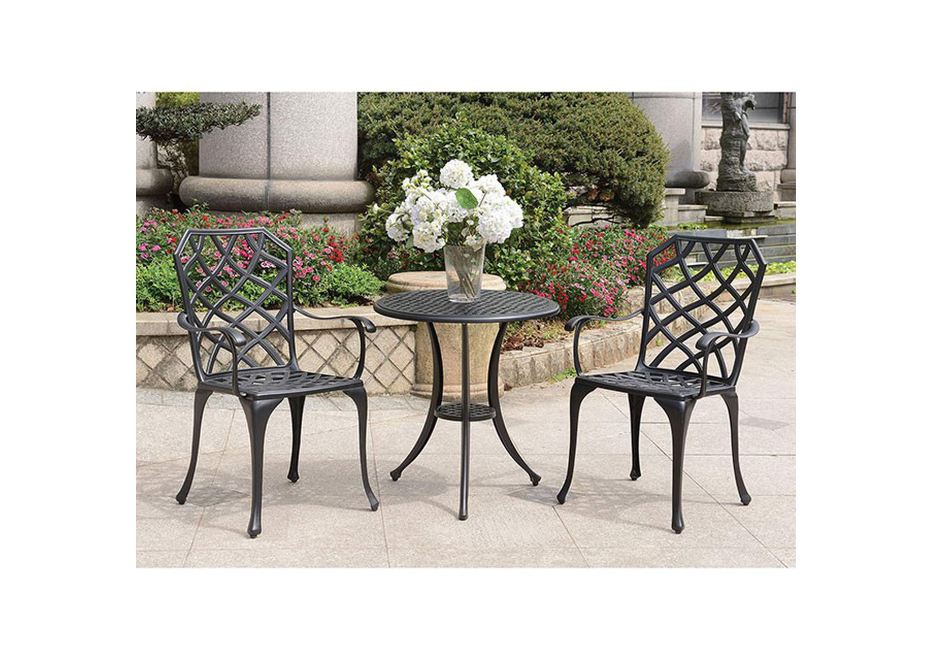 Crary Black Round Bistro Table Set,Furniture of America