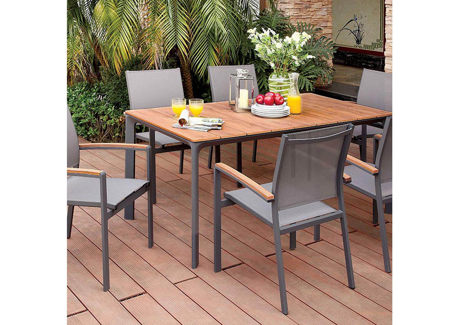 Oshawa Oak/Gray Patio Dining Table,Furniture of America