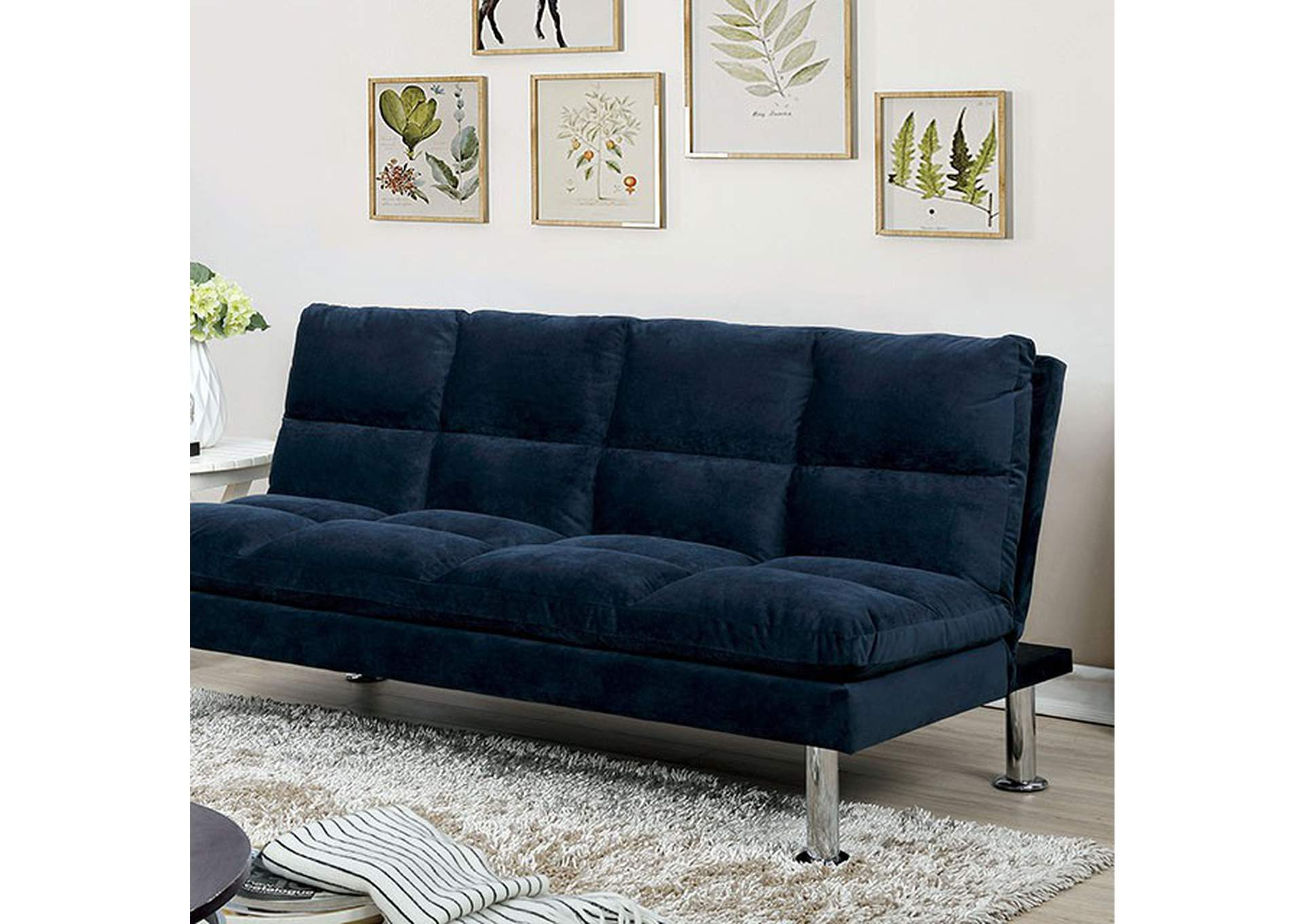 Saratoga Blue Futon Sofa,Furniture of America