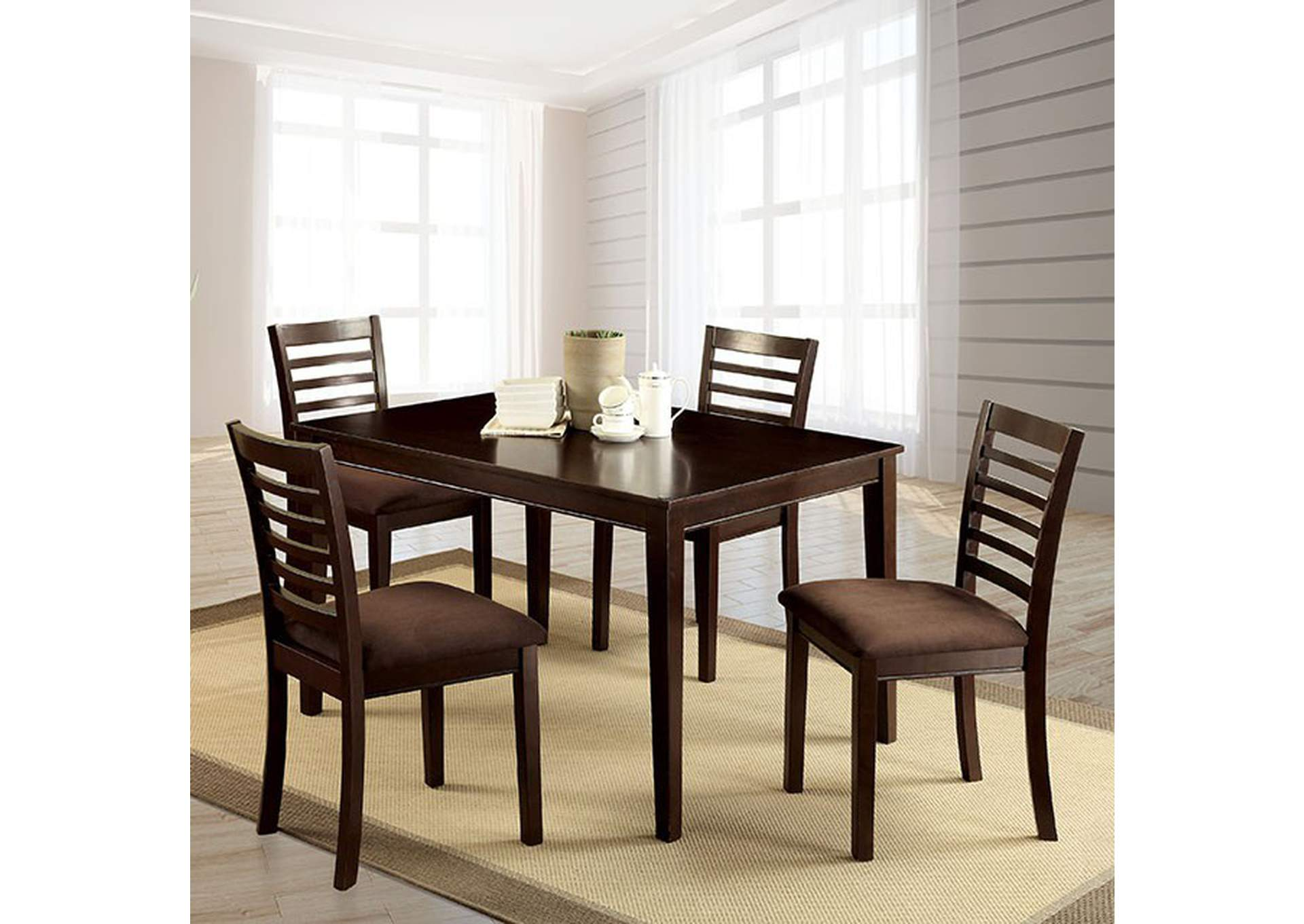 Eaton I Espresso 5 Piece Dining Set,Furniture of America