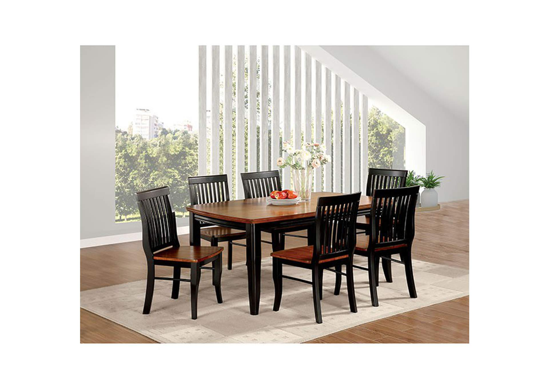 Earlham Black & Oak Dining Table,Furniture of America