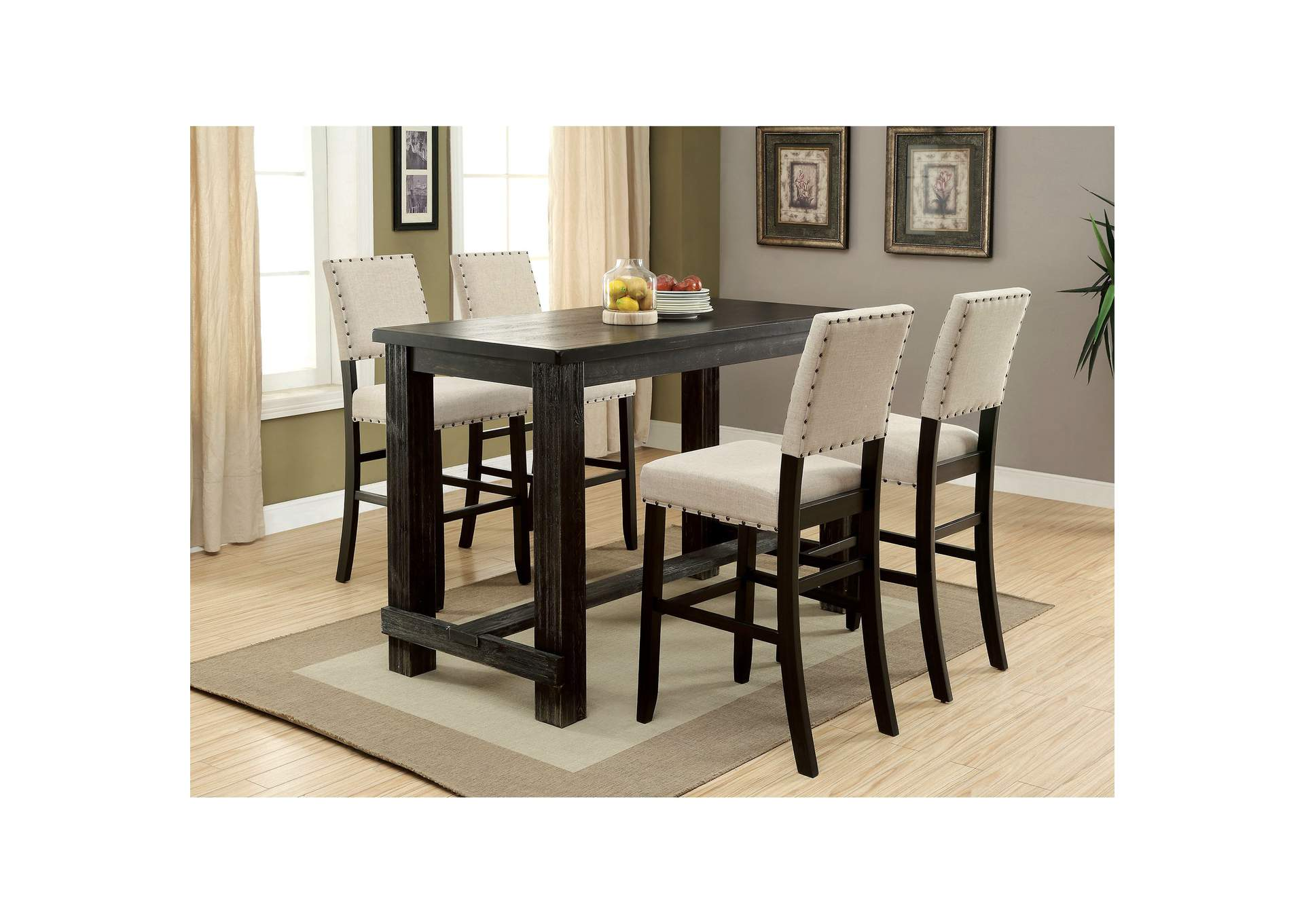 Sania II Antique Black Bar Table,Furniture of America