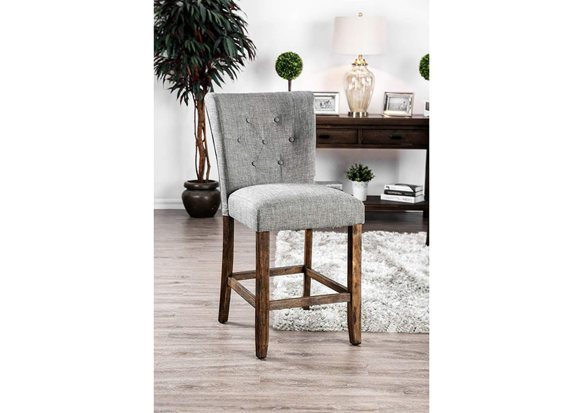 Schoten Gray Upholstered Counter Height Chair (Set of 2),Furniture of America