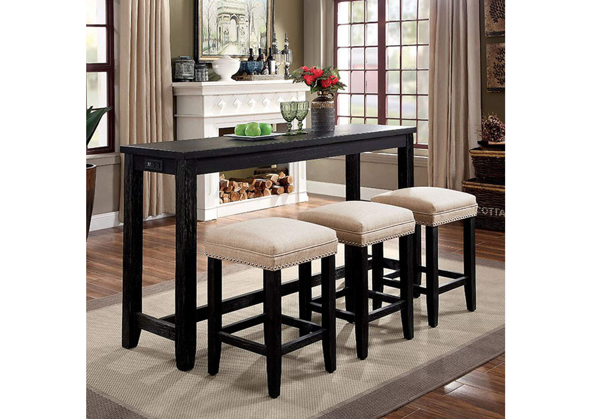 Caerleon 4 Piece Counter Height Dining Set,Furniture of America