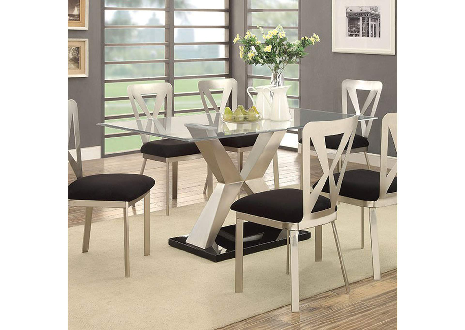Black And Silver Dining Room Set