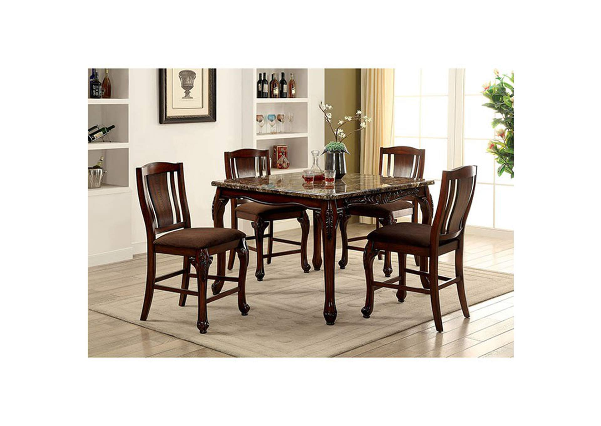 Johannesburg Brown Cherry Faux Marble Counter Height Table W 4 Chairs Furniture Of America