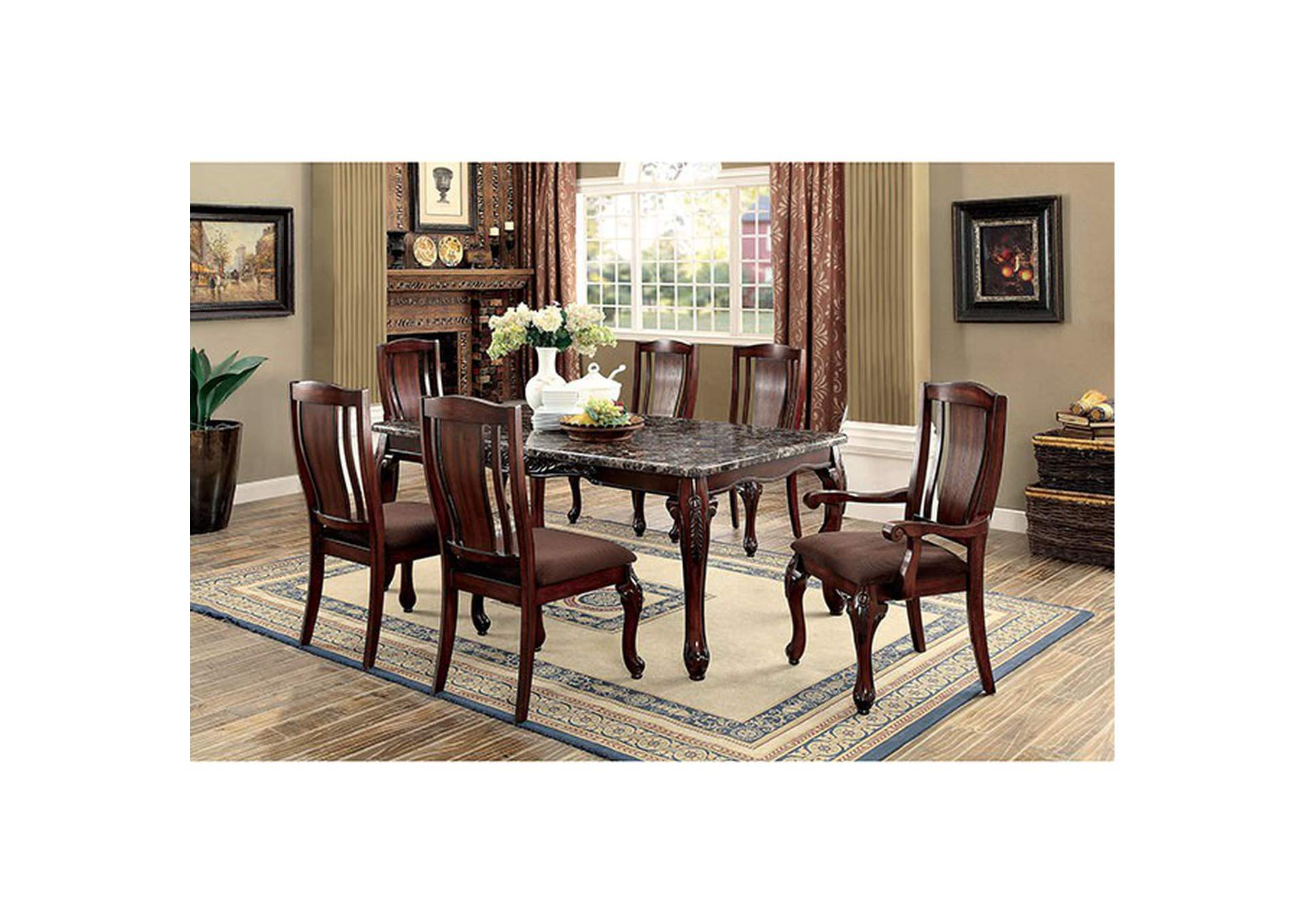 ff05c6e11b 359336 Johannesburg I Brown Cherry Faux Marble Dining Table w/4 Side Chairs