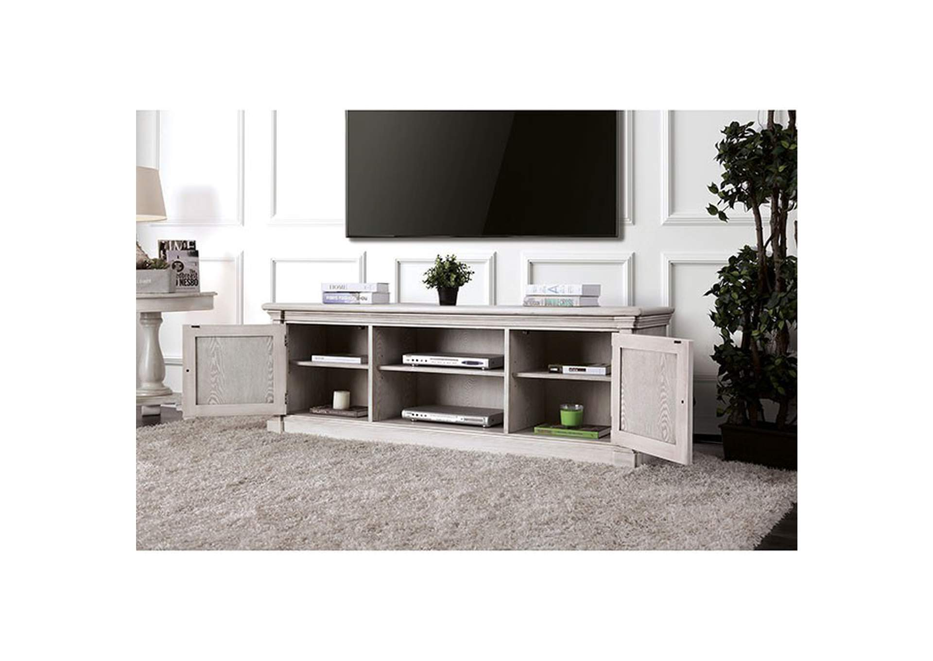 "Georgia Antique White 72"" TV Stand,Furniture of America"
