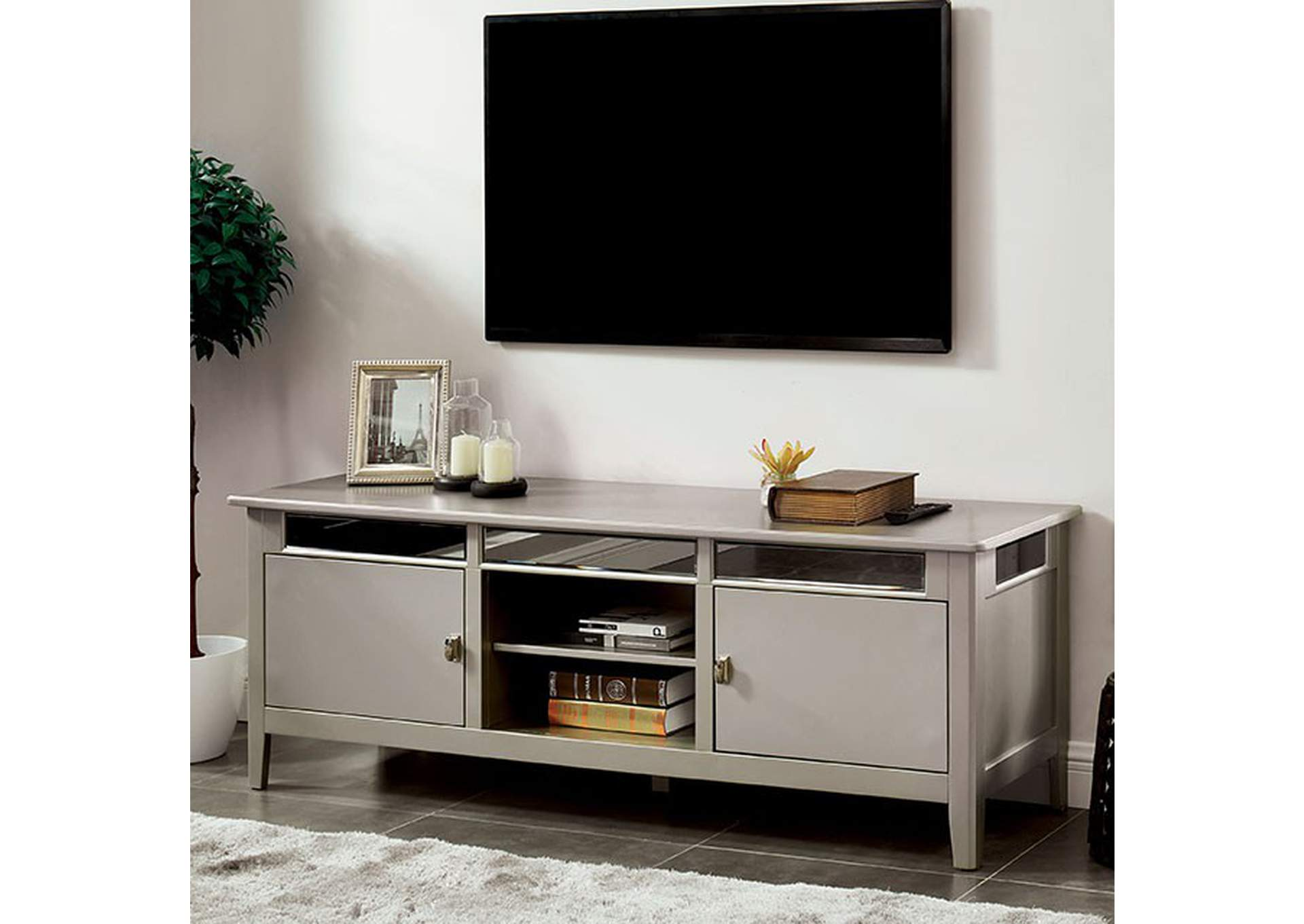 Xaviera Silver TV Stand,Furniture of America