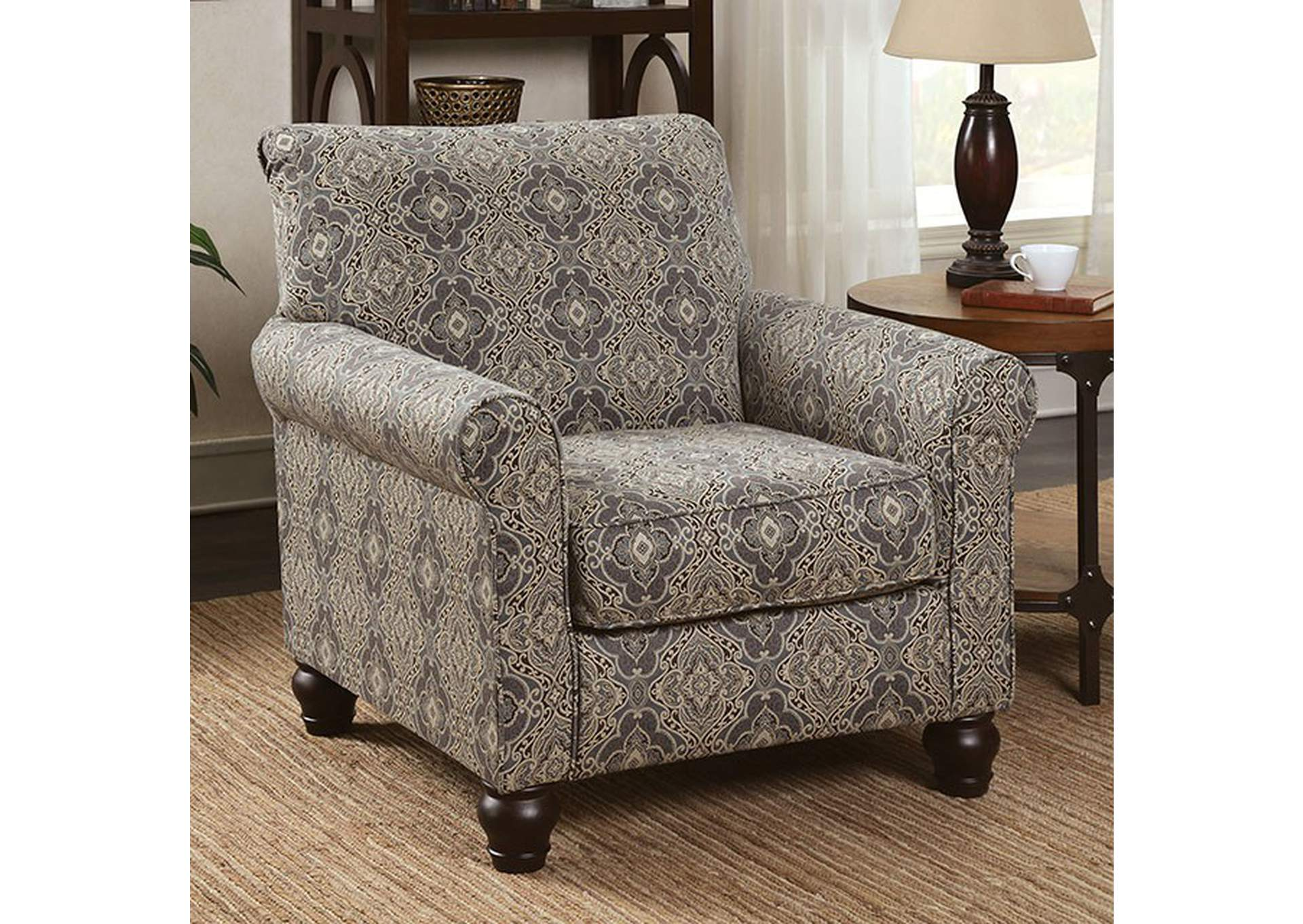 Clea Damask Pattern Accent Chair,Furniture Of America