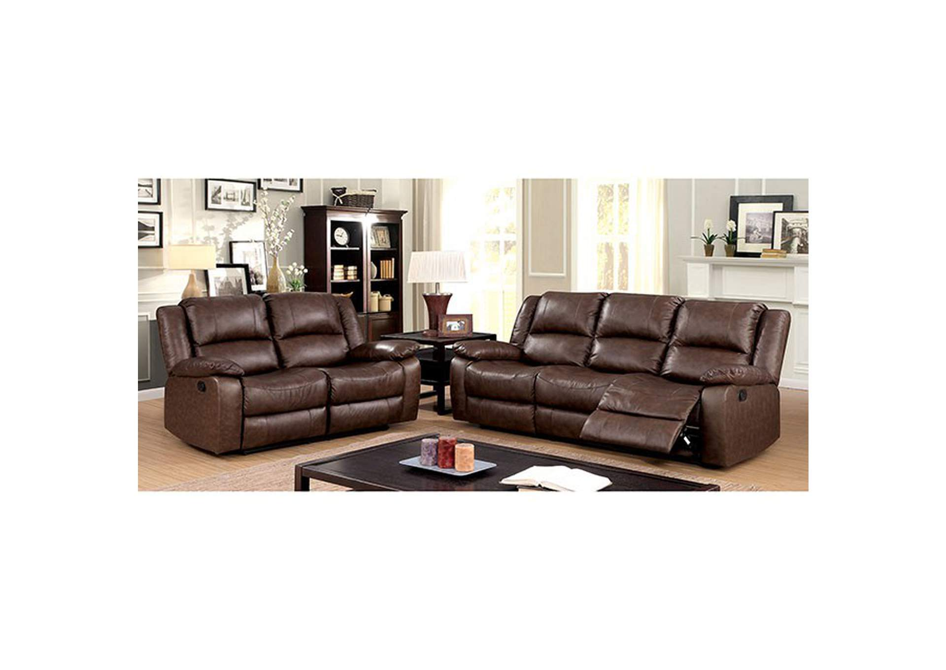 Kris Brown Sofa and Loveseat w/4 Recliners,Furniture of America