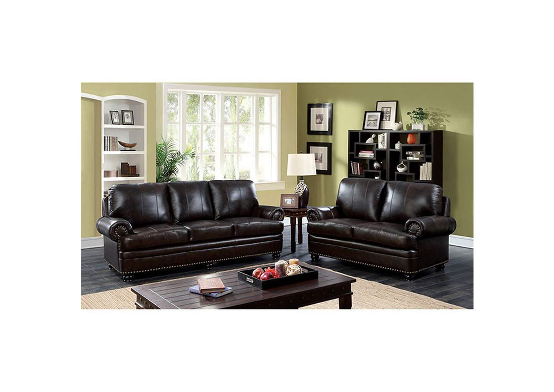 Palace Furniture Reinhardt Dark Brown Sofa And Loveseat