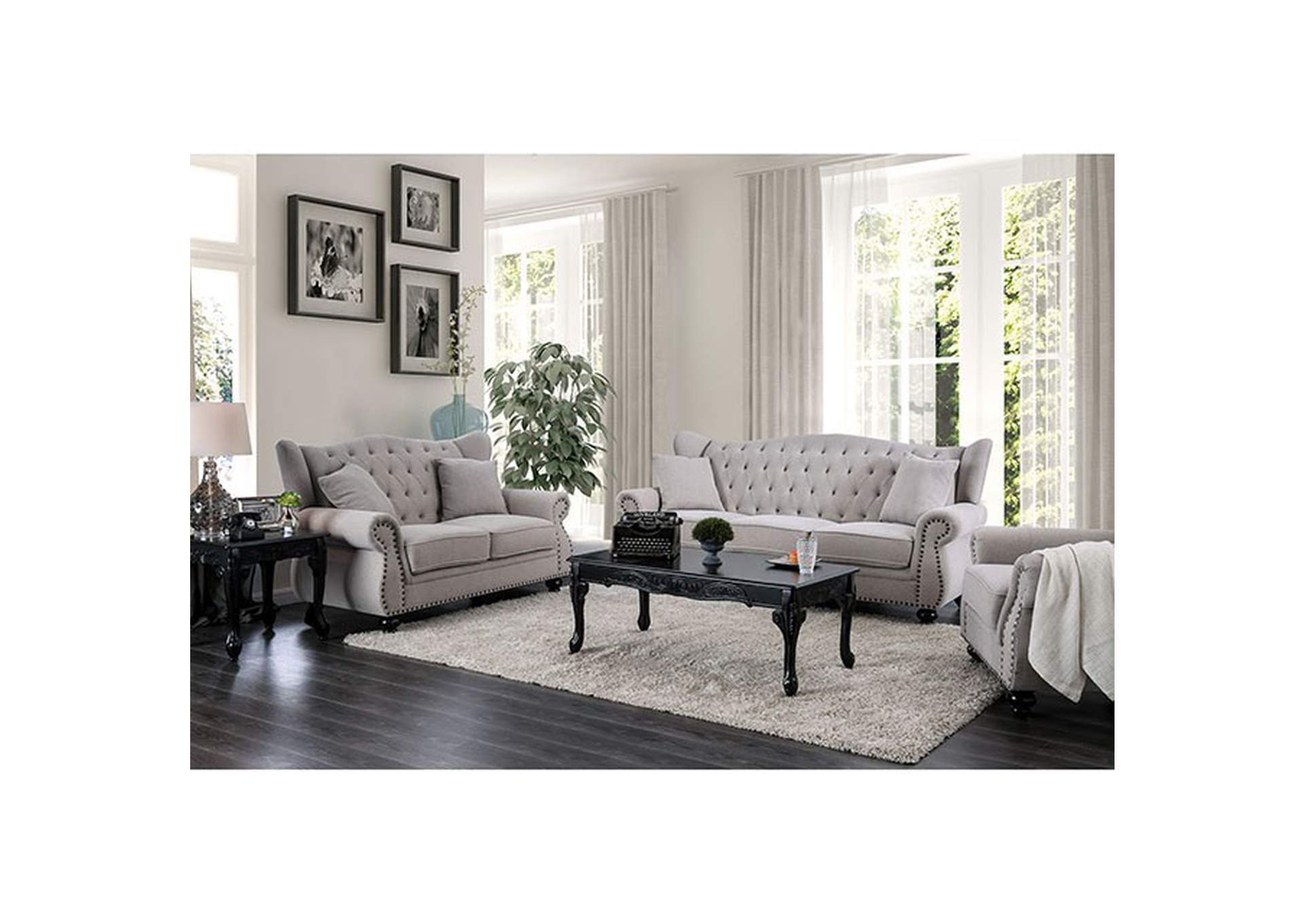 Ewloe Gray Stationary Sofa,Furniture of America TX