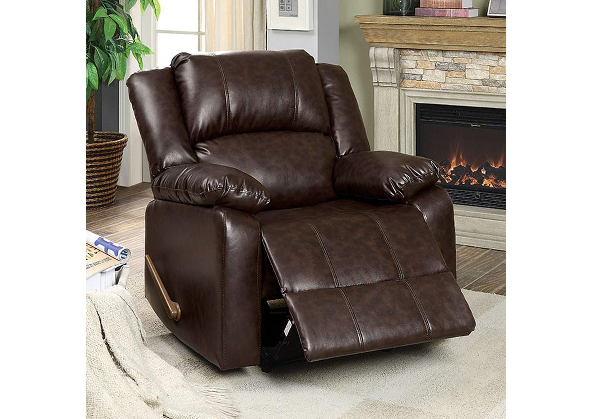 Superbe Mclaughlin Brown Leather Recliner,Furniture Of America