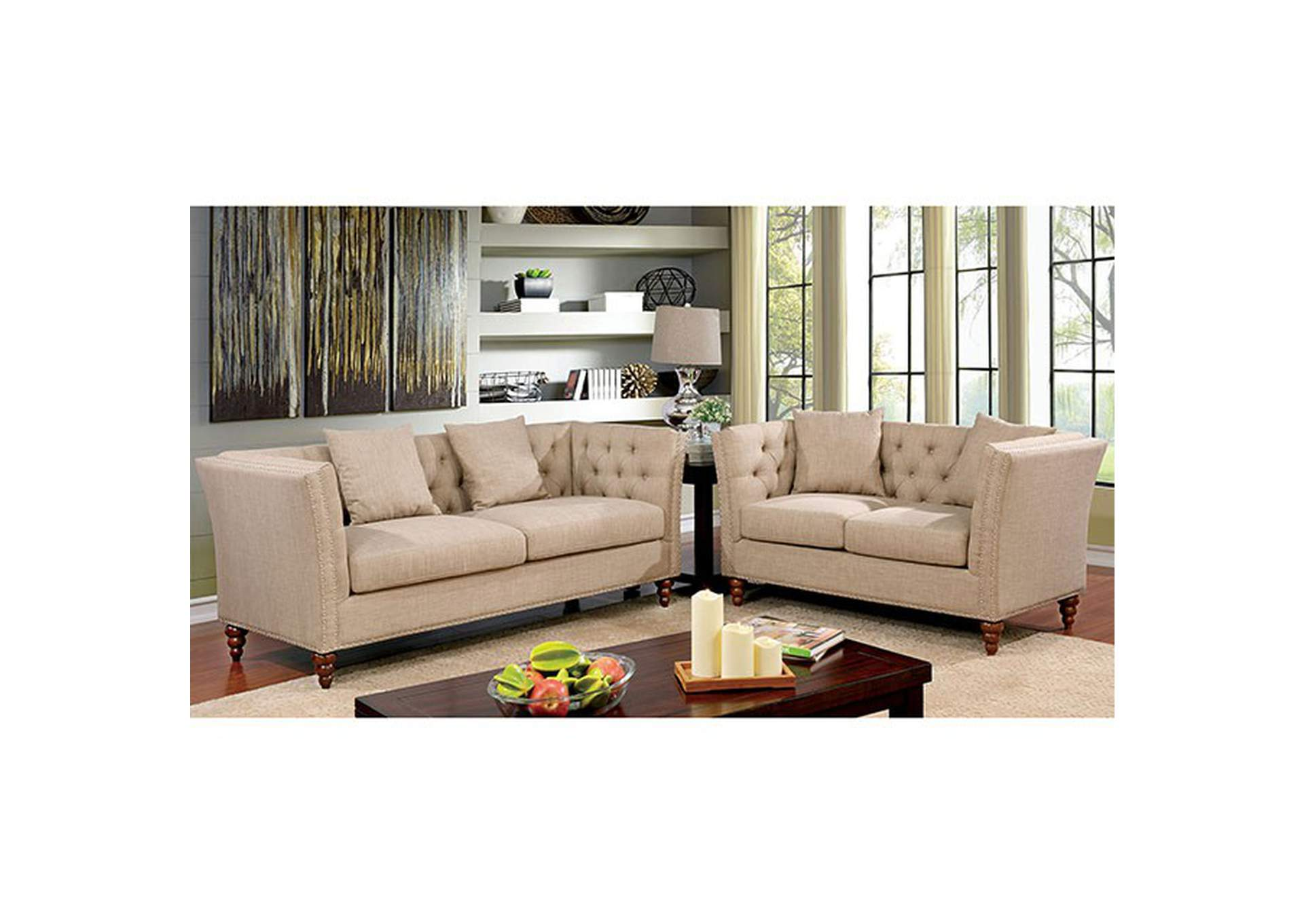 Imani Beige Sofa And Loveseat,Furniture Of America