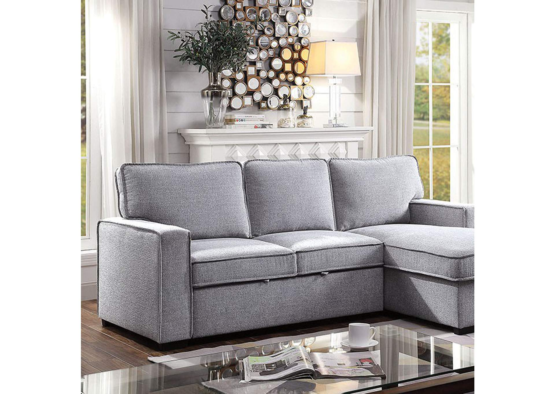 Ines Grey Sectional,Furniture of America