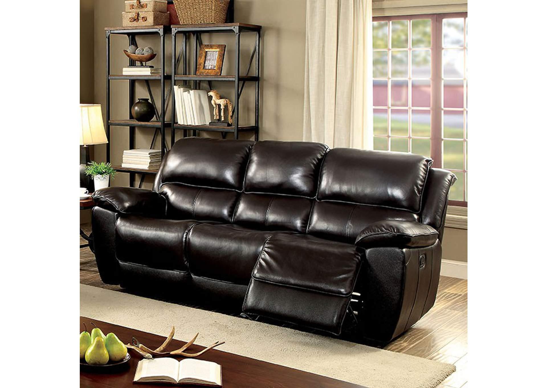 iDeal Furniture Austell Keara Dark Brown Sofa w/2 Recliners