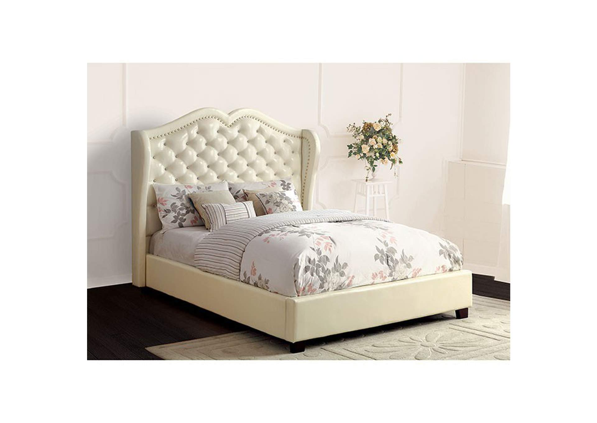 Monroe Ivory Queen Platform Bed,Furniture of America