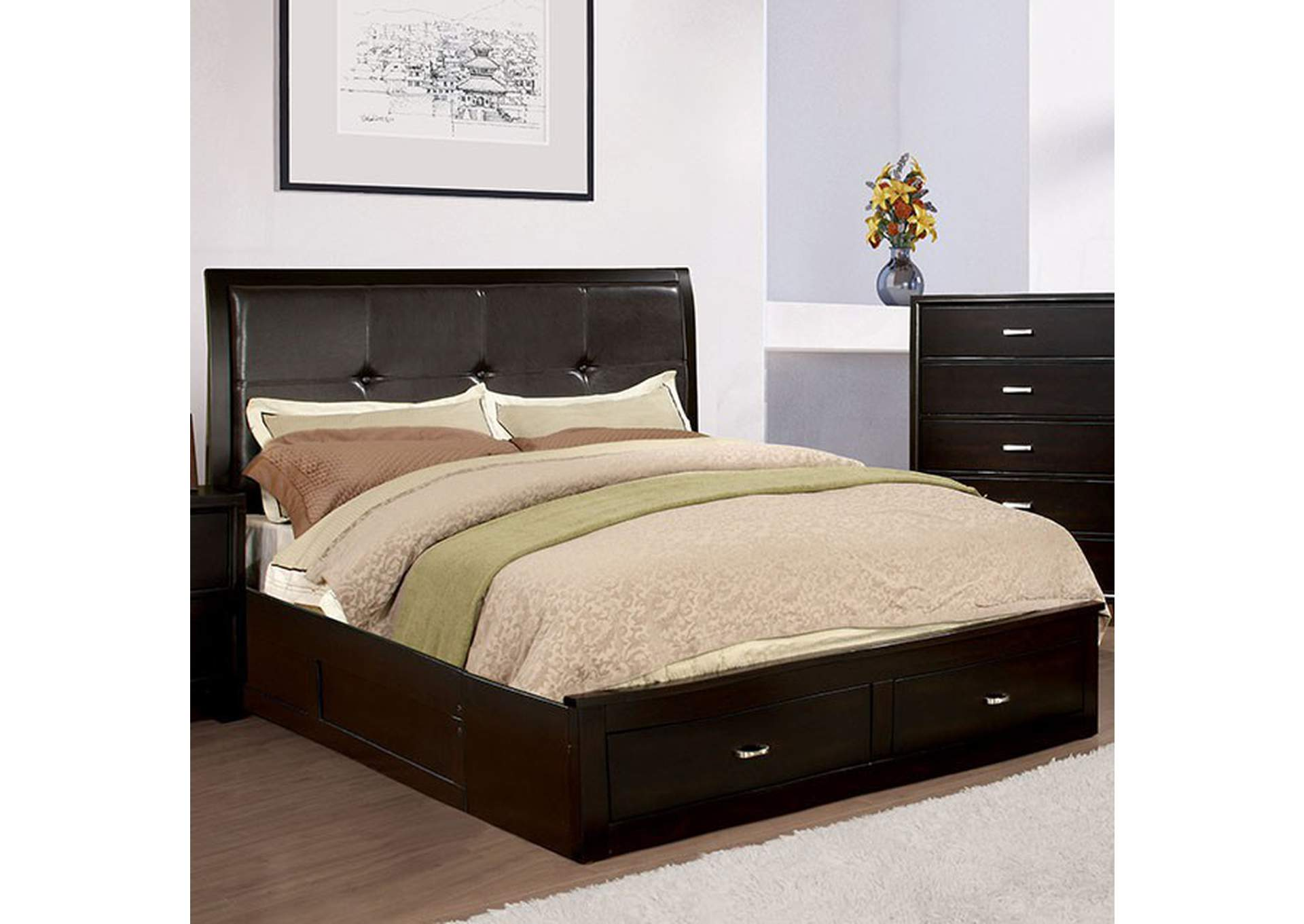 Enrico III Espresso Queen Platform Storage Bed,Furniture of America