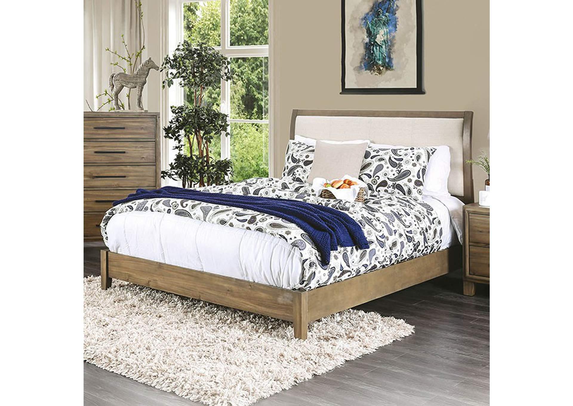The Bed Post Enrico I Light Oak Eastern King Upholstered Platform Bed