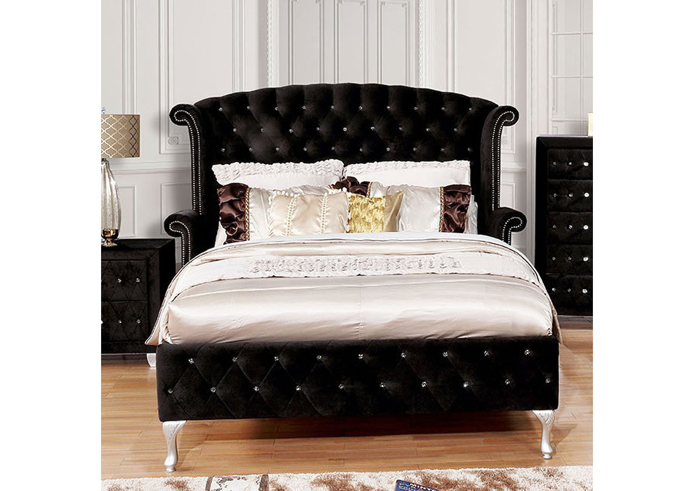 Alzire Black Upholstered Eastern King Platform Bed,Furniture of America