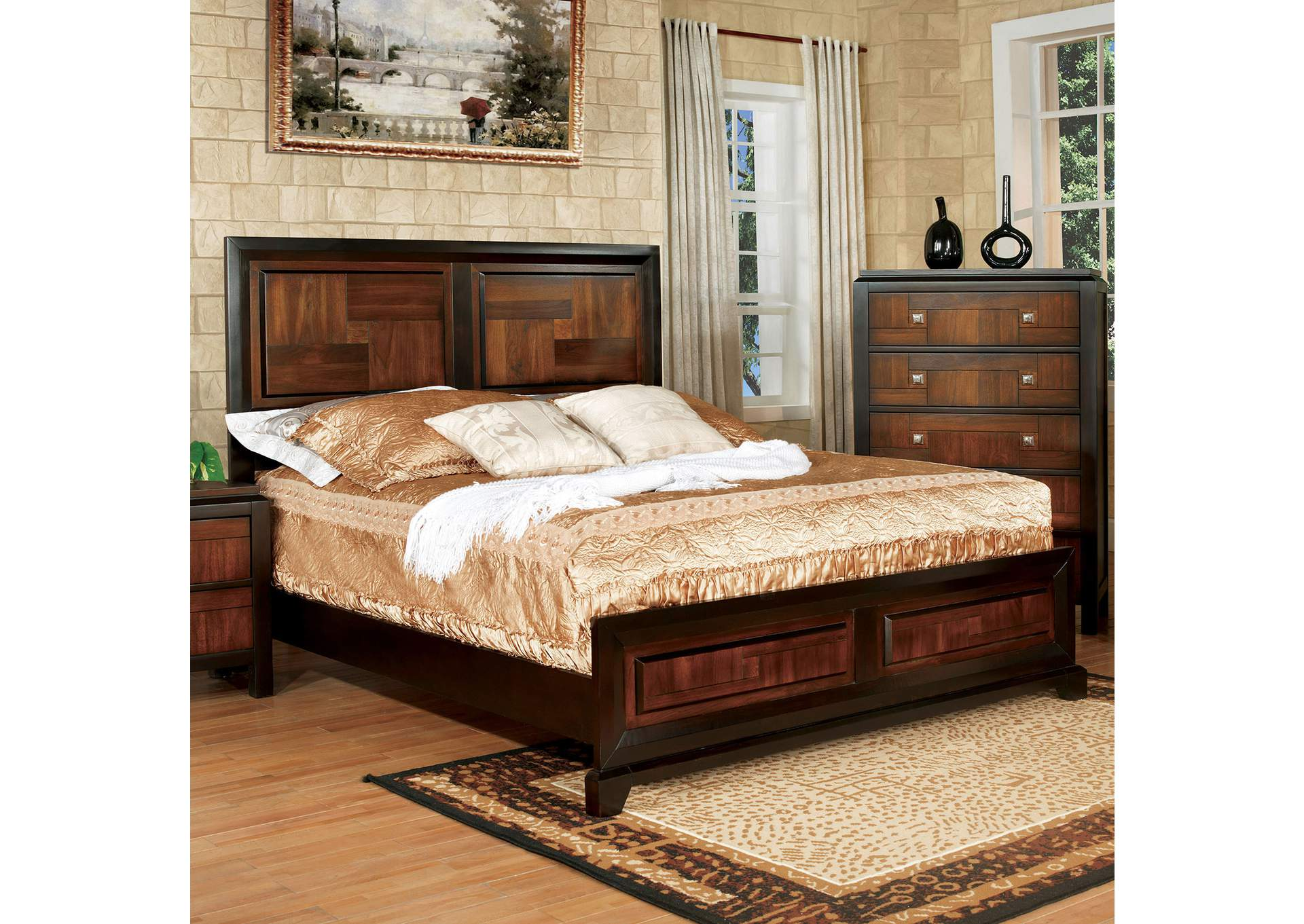 Patra Acacia & Walnut Queen Panel Bed,Furniture of America
