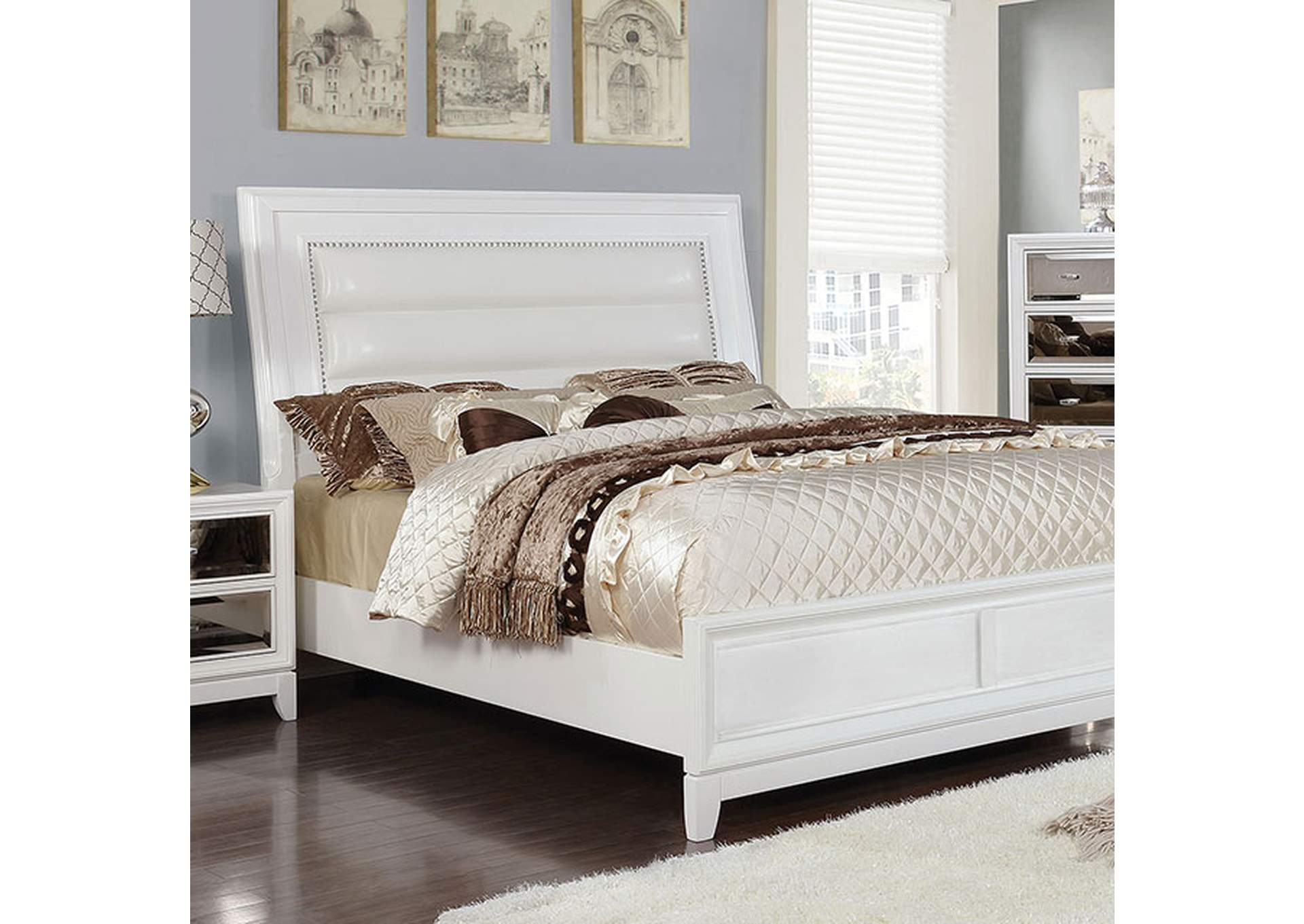 Golva White Upholstered California King Panel Bed,Furniture of America