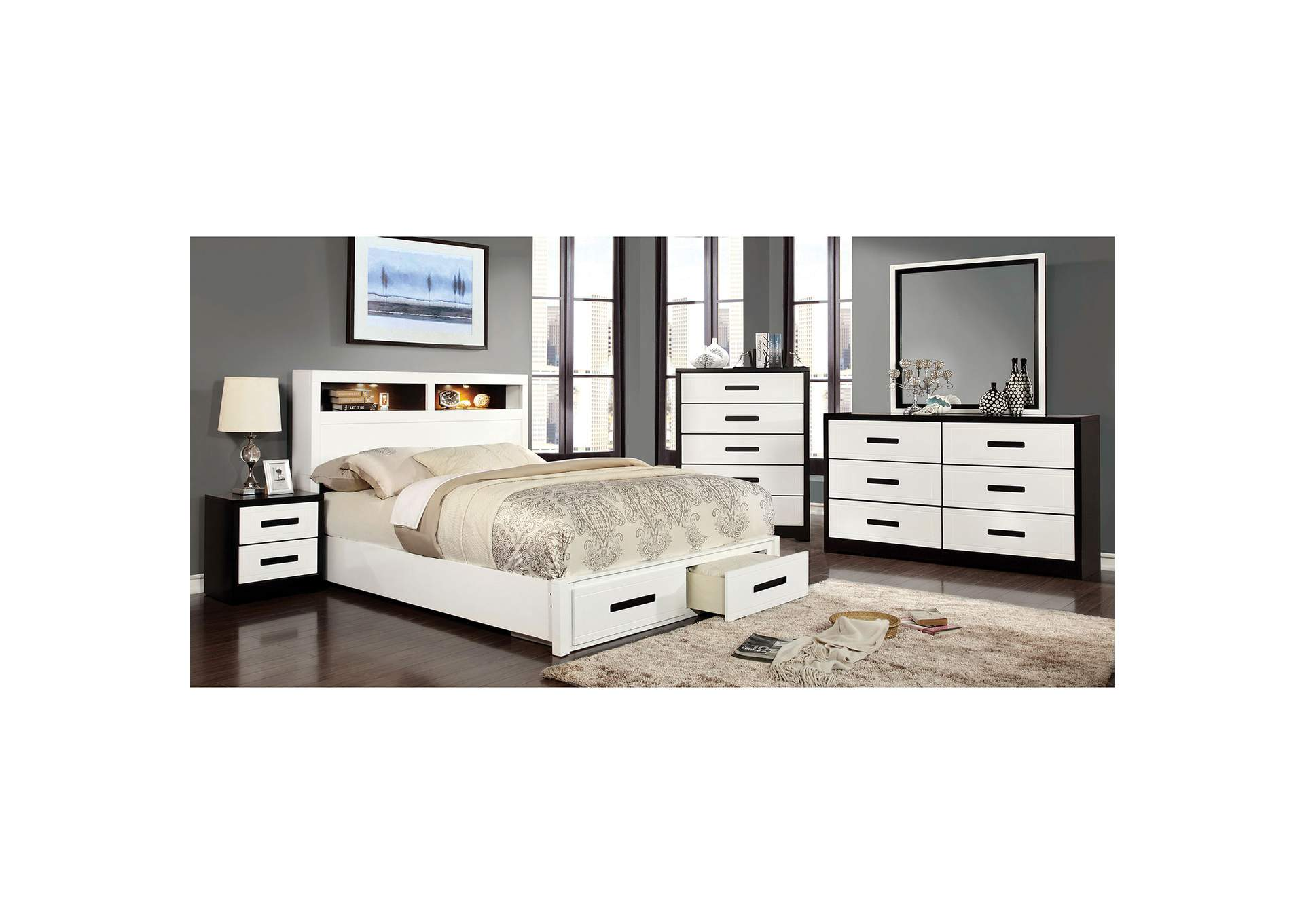 Rutger White & Black Queen Storage Bed,Furniture of America