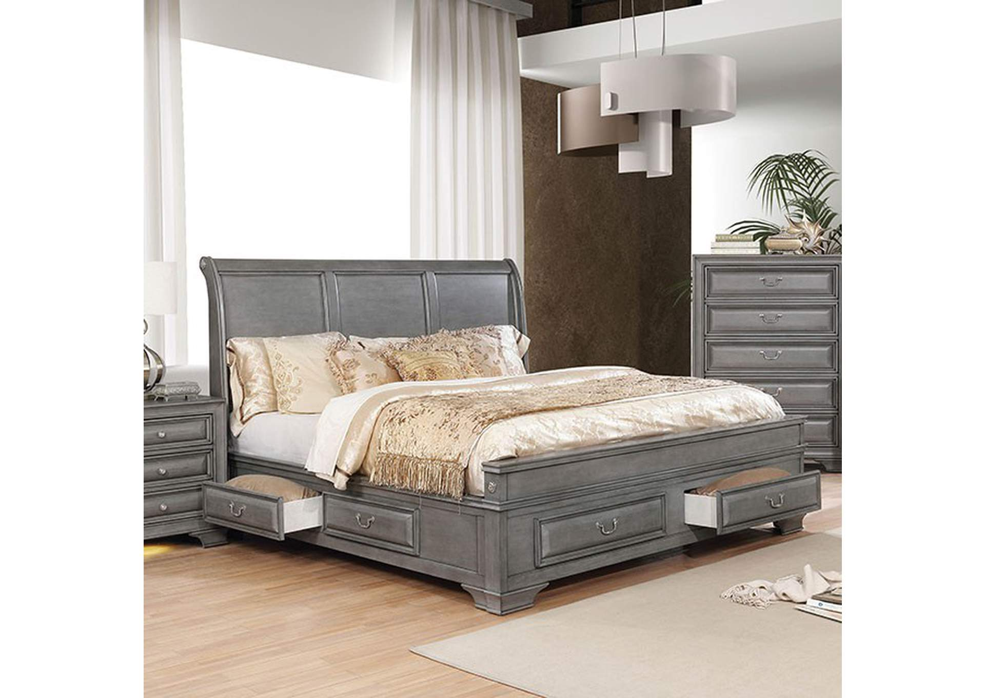 Brandt Gray Queen Storage Bed,Furniture of America