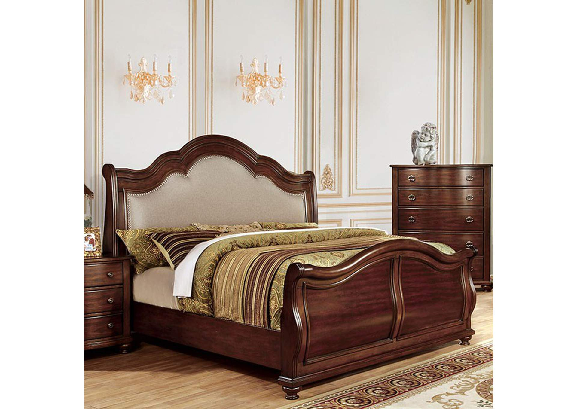 Bellavista Queen Upholstered Sleigh Bed,Furniture of America