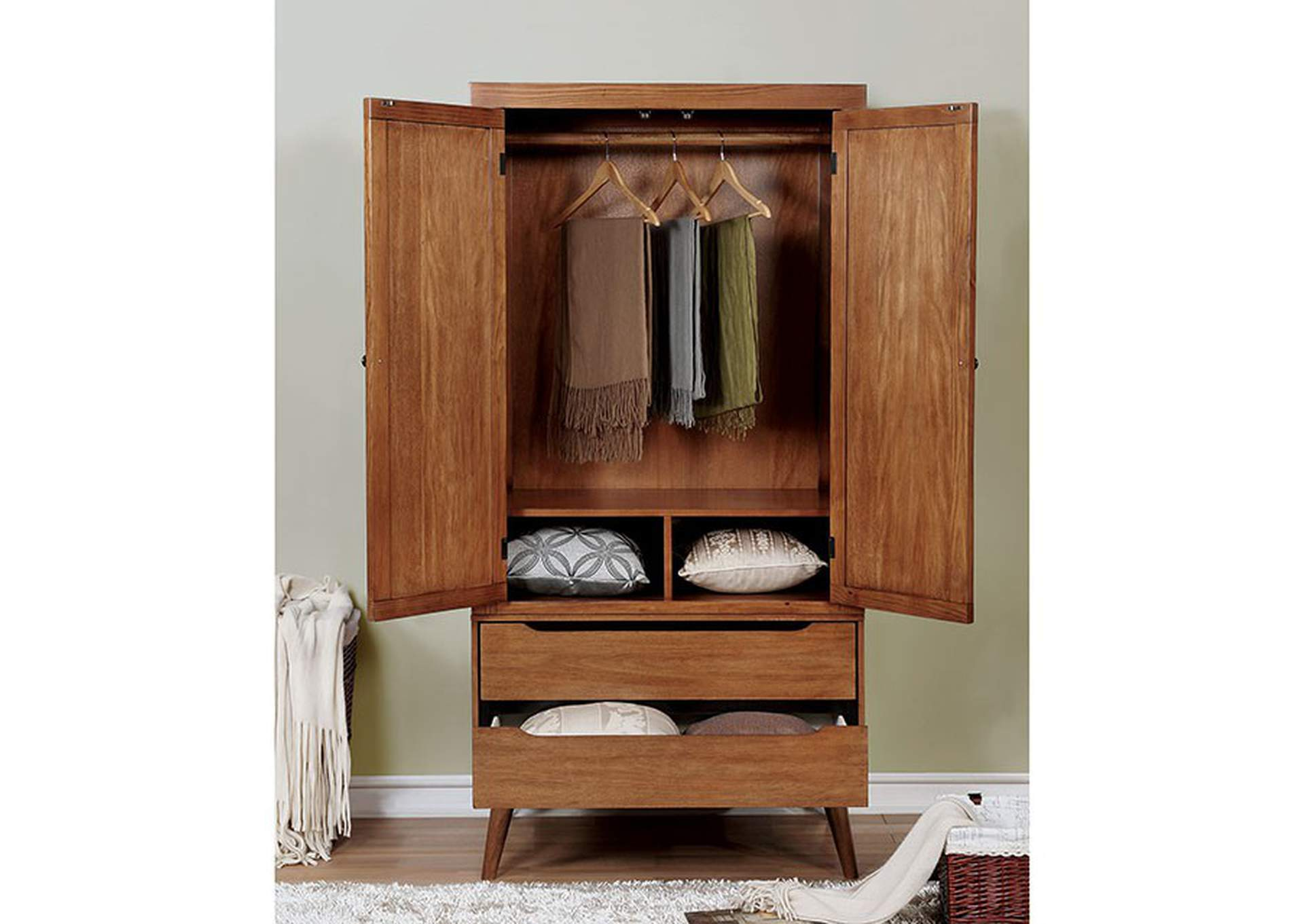 Lennart Oak Armoire,Furniture of America