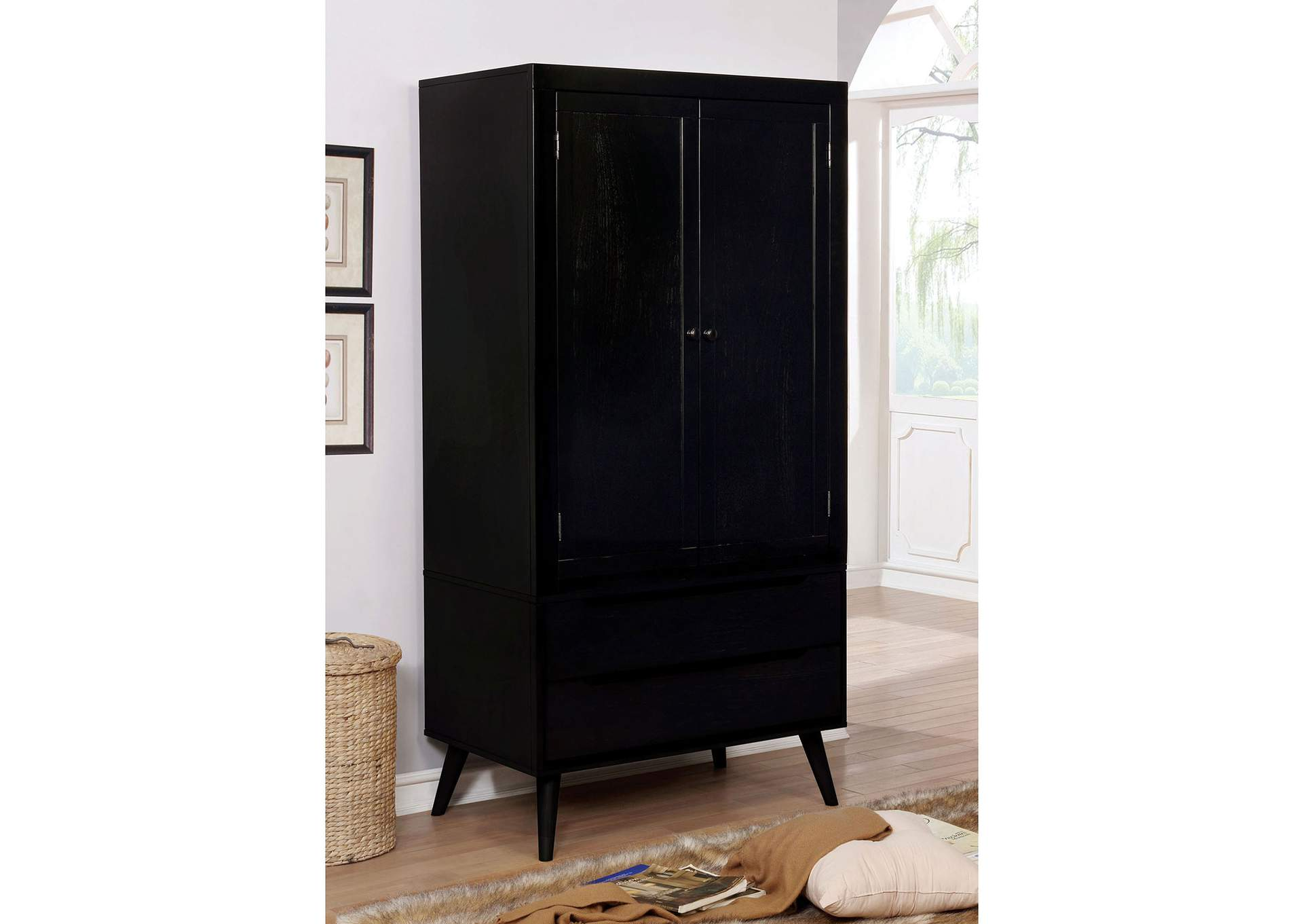 Flamingo furniture lennart black armoire
