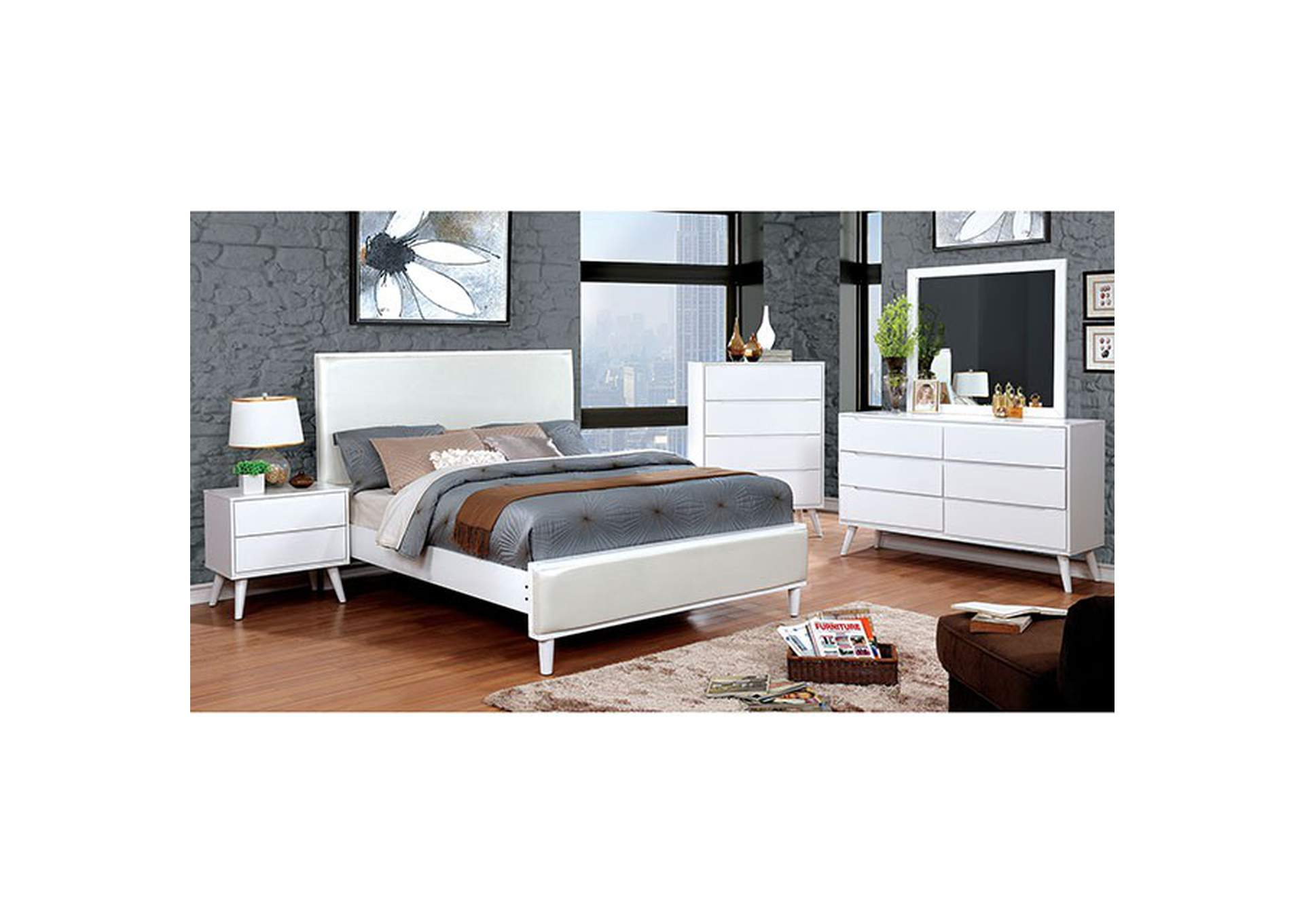 Lennart II White Upholstered Queen Bed,Furniture of America