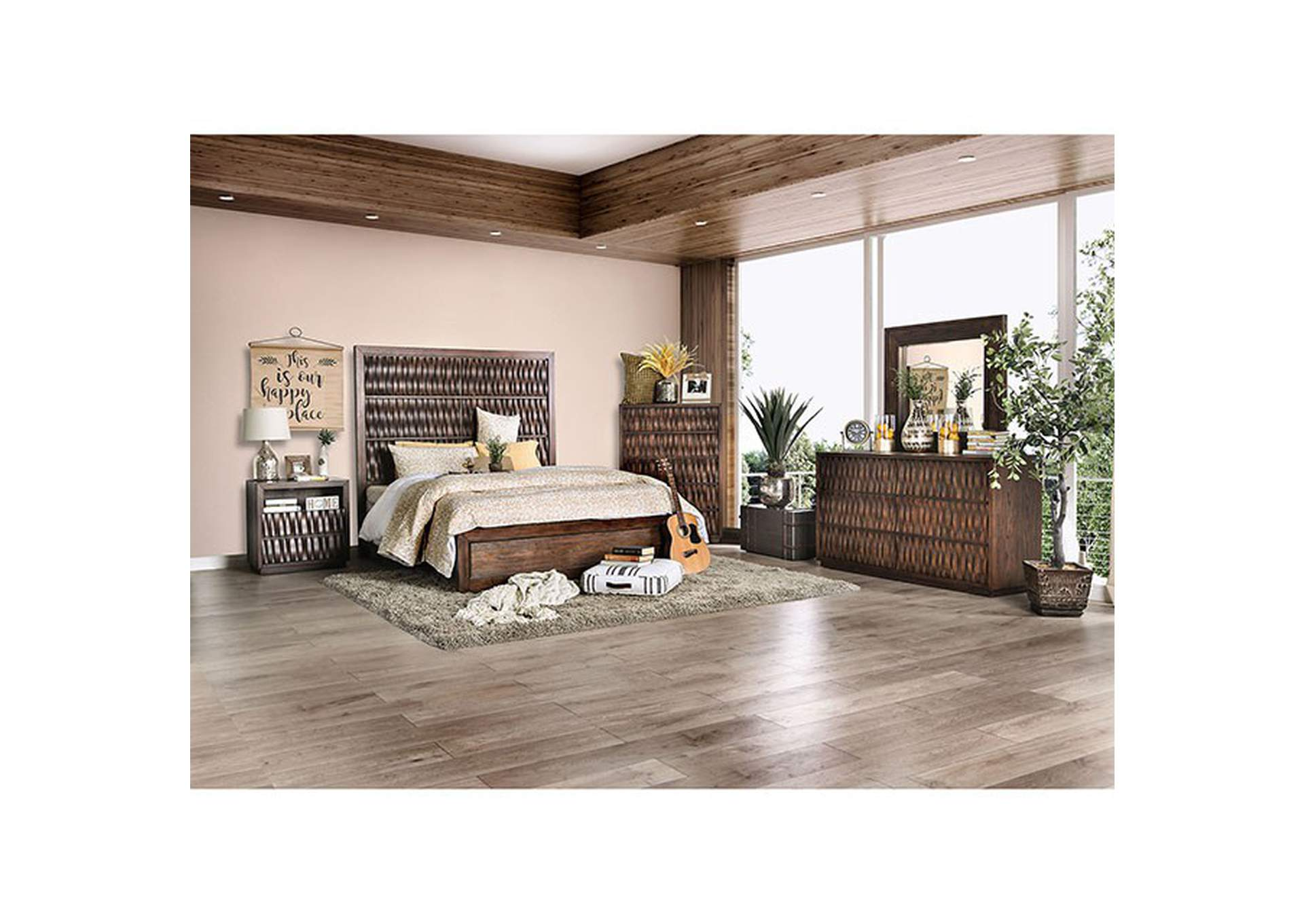 Eutropia Warm Chestnut Queen Platform Bed,Furniture of America