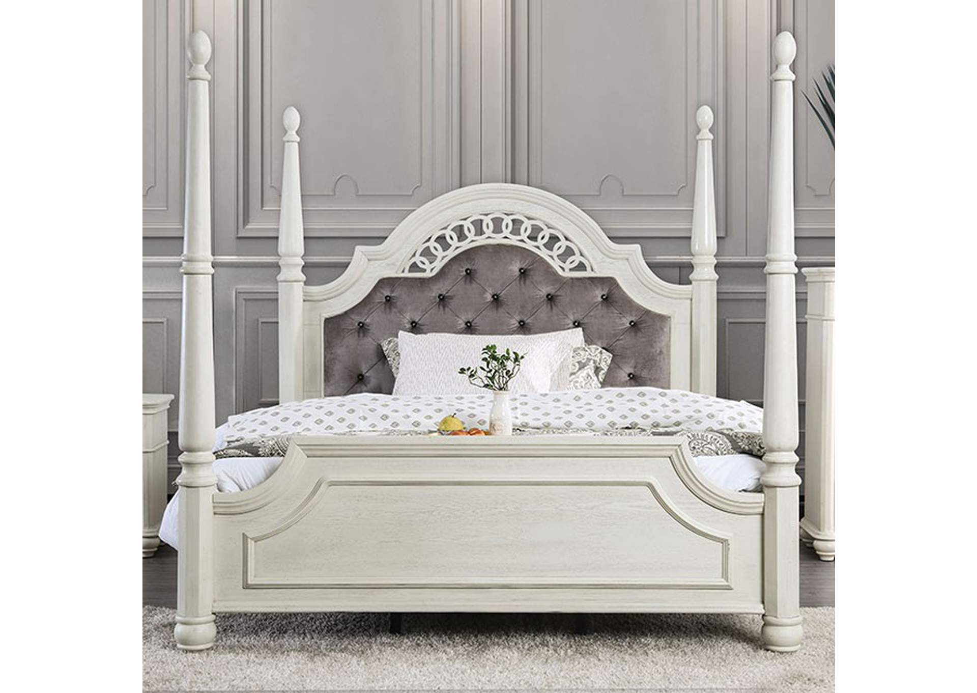 Fantasia White Upholstered Eastern King Poster Panel Bed,Furniture of America
