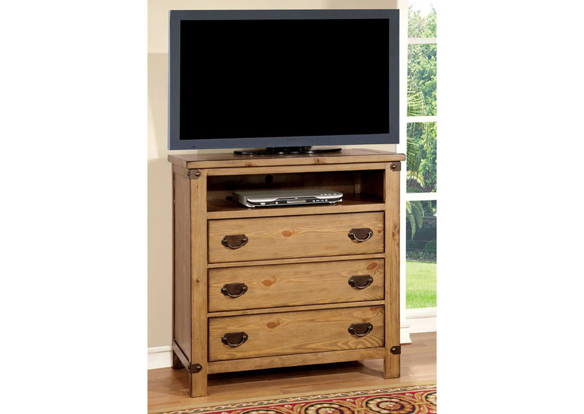 Pioneer Weathered Elm Media Chest,Furniture of America