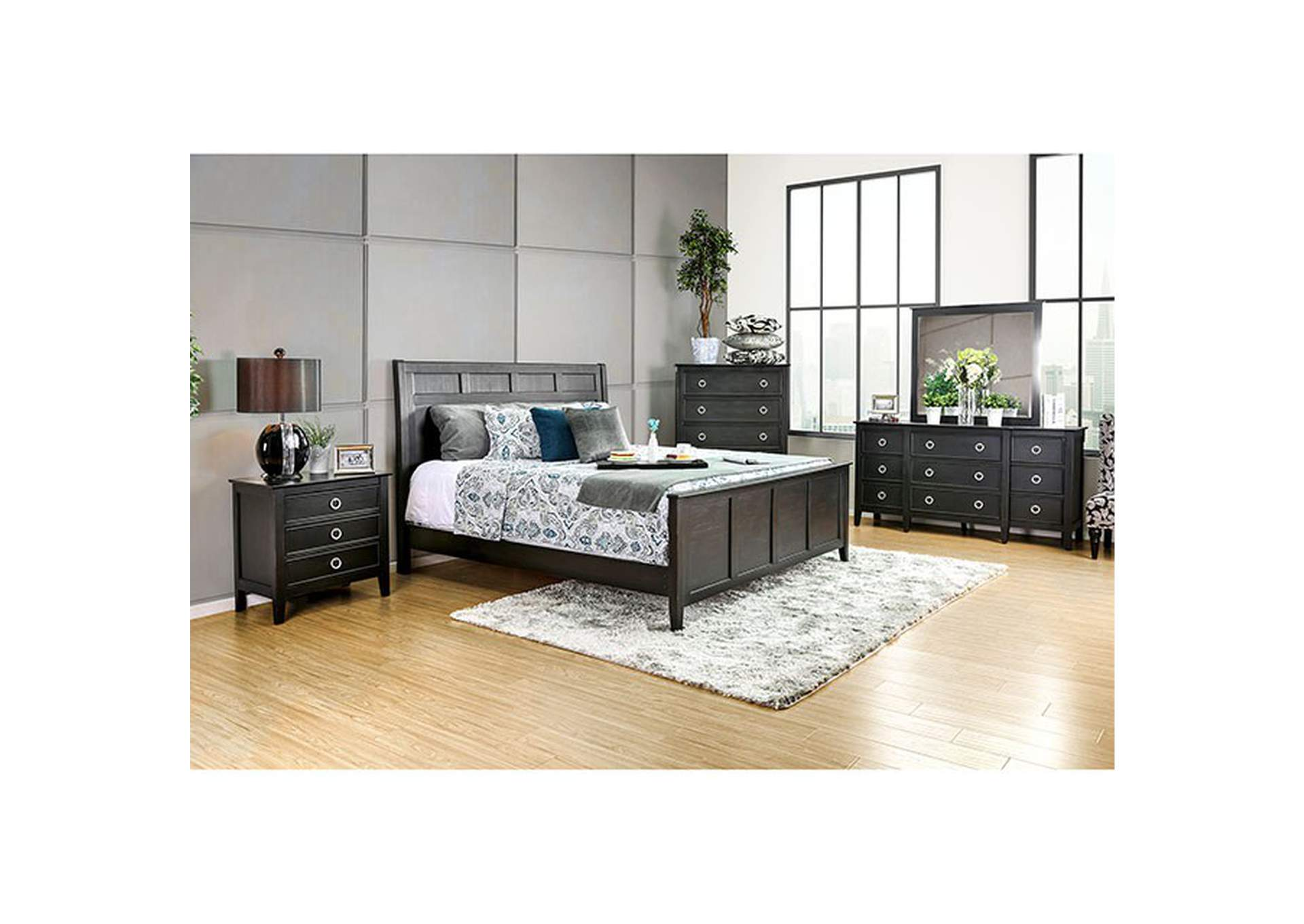 Arabelle Wire-Brushed Black Queen Panel Bed w/Dresser, Mirror, Drawer Chest and Nightstand,Furniture of America