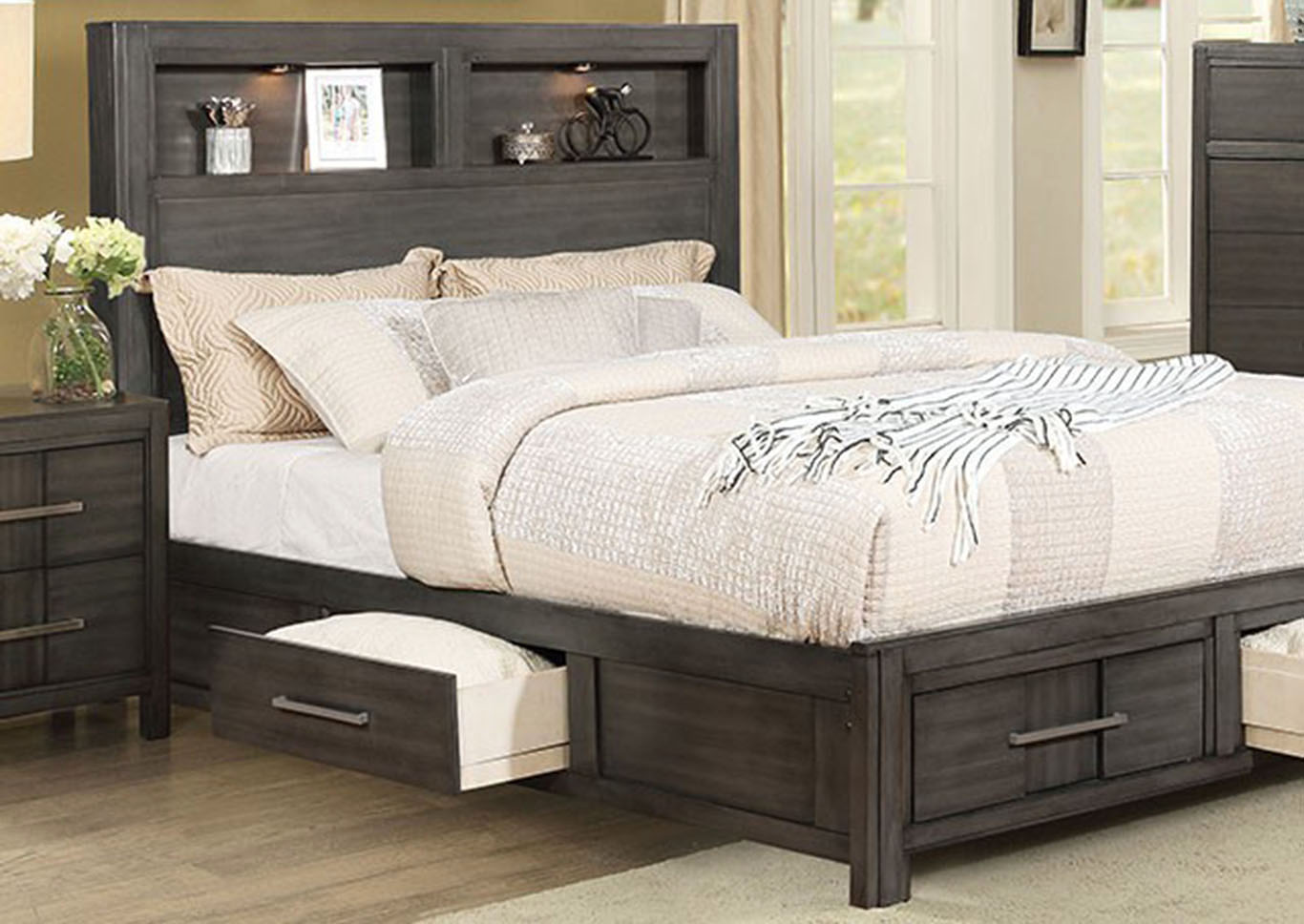 Karla Gray Queen Bookcase Storage Bed,Furniture of America