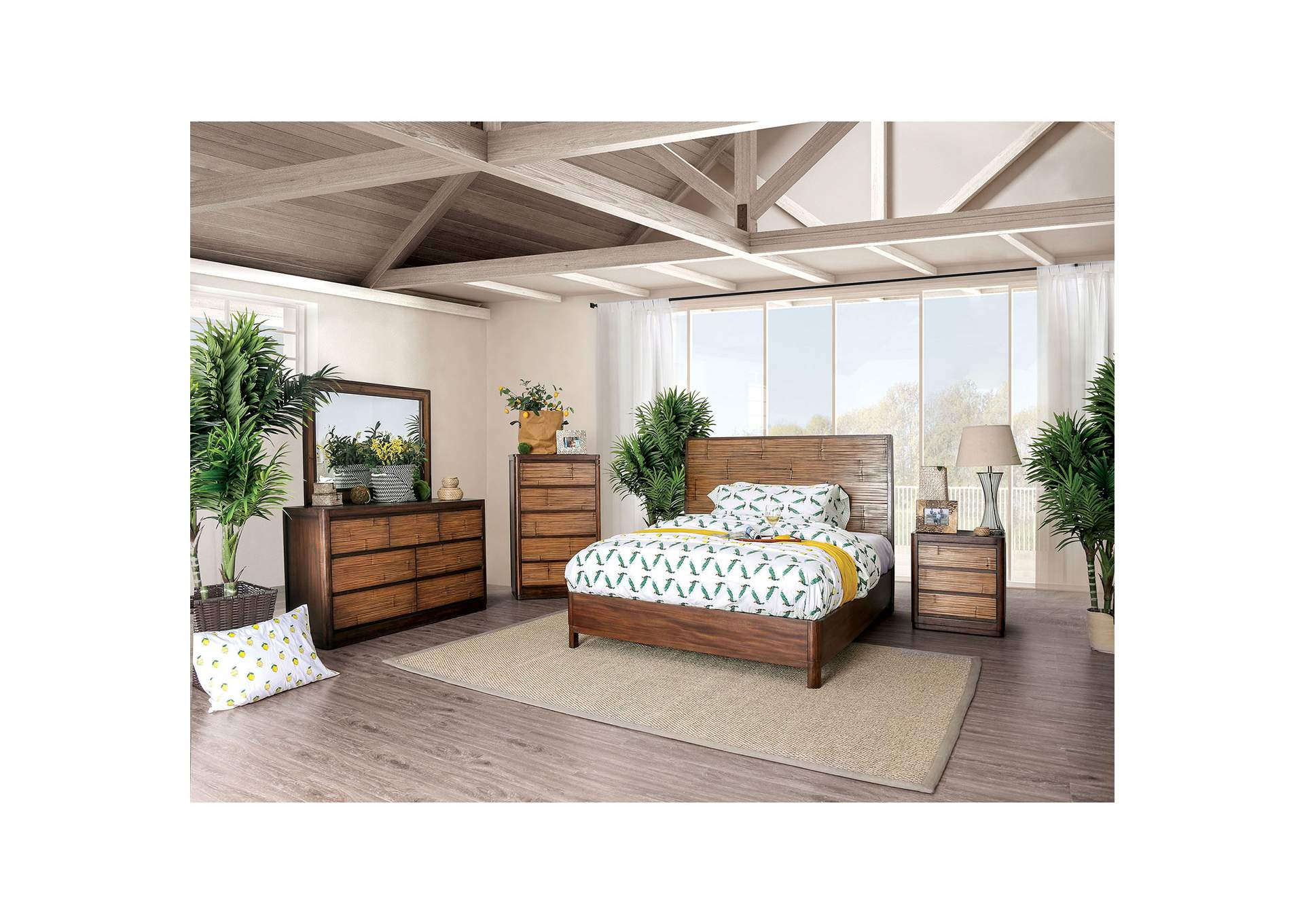 Covilha Brown Queen Platform Bed,Furniture of America
