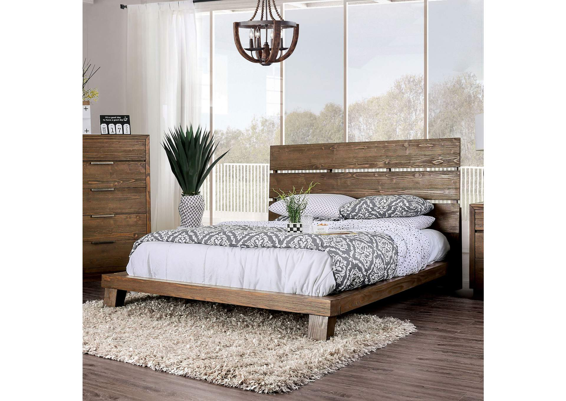 Tolna Brown Eastern King Platform Bed,Furniture of America