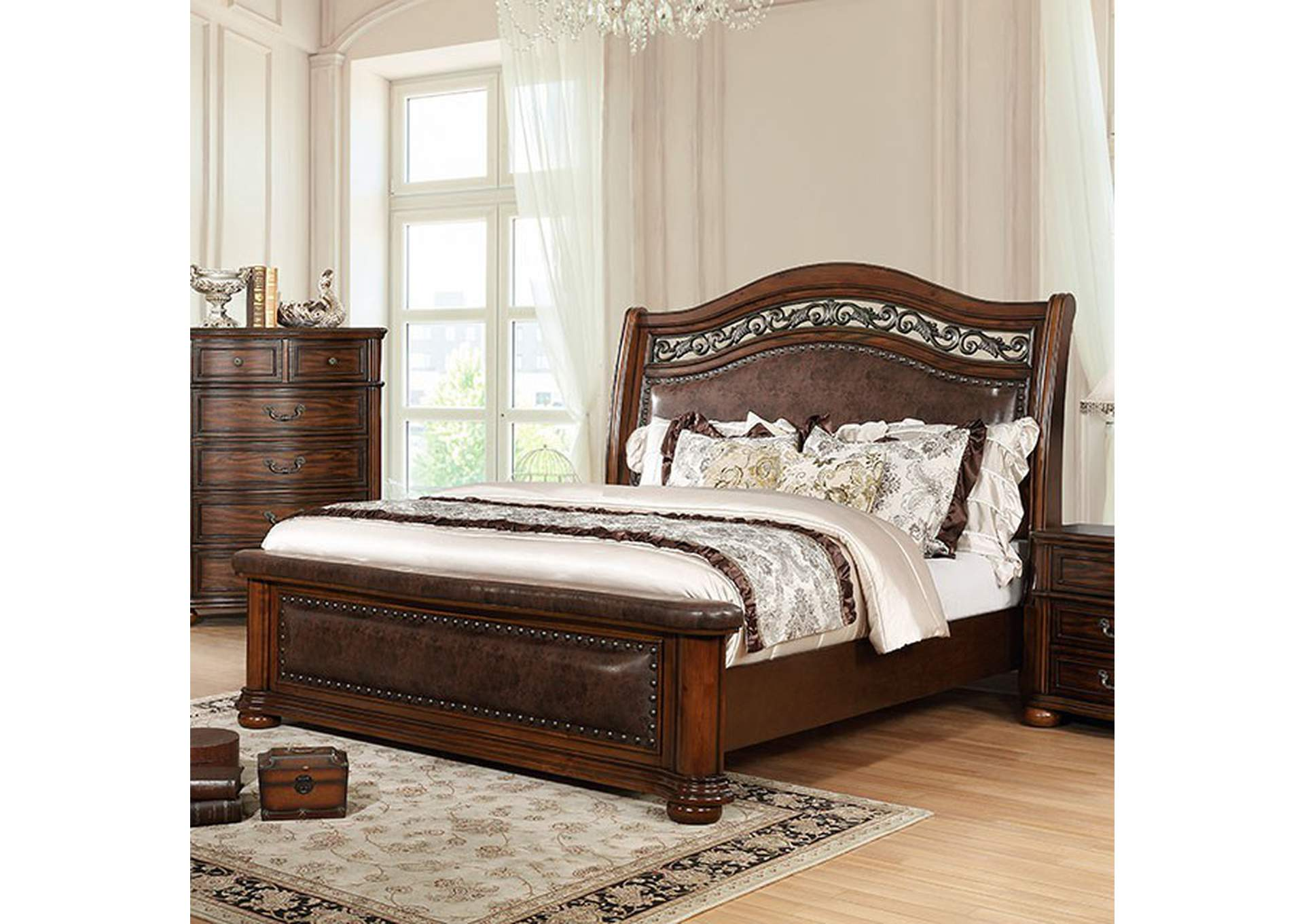 Janiya Brown Upholstered Queen Panel Bed,Furniture of America