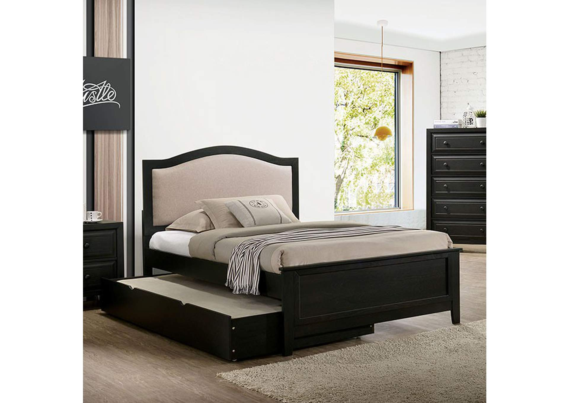 Kirsten Upholstered Gray Twin Storage Platform Bed,Furniture of America